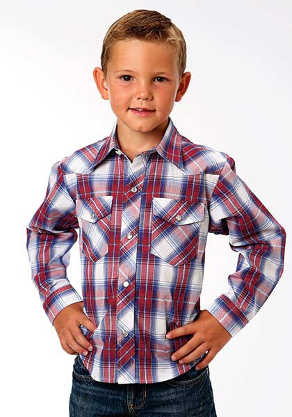 Boys western shirt red white and blue plaid for Red white and blue plaid shirt