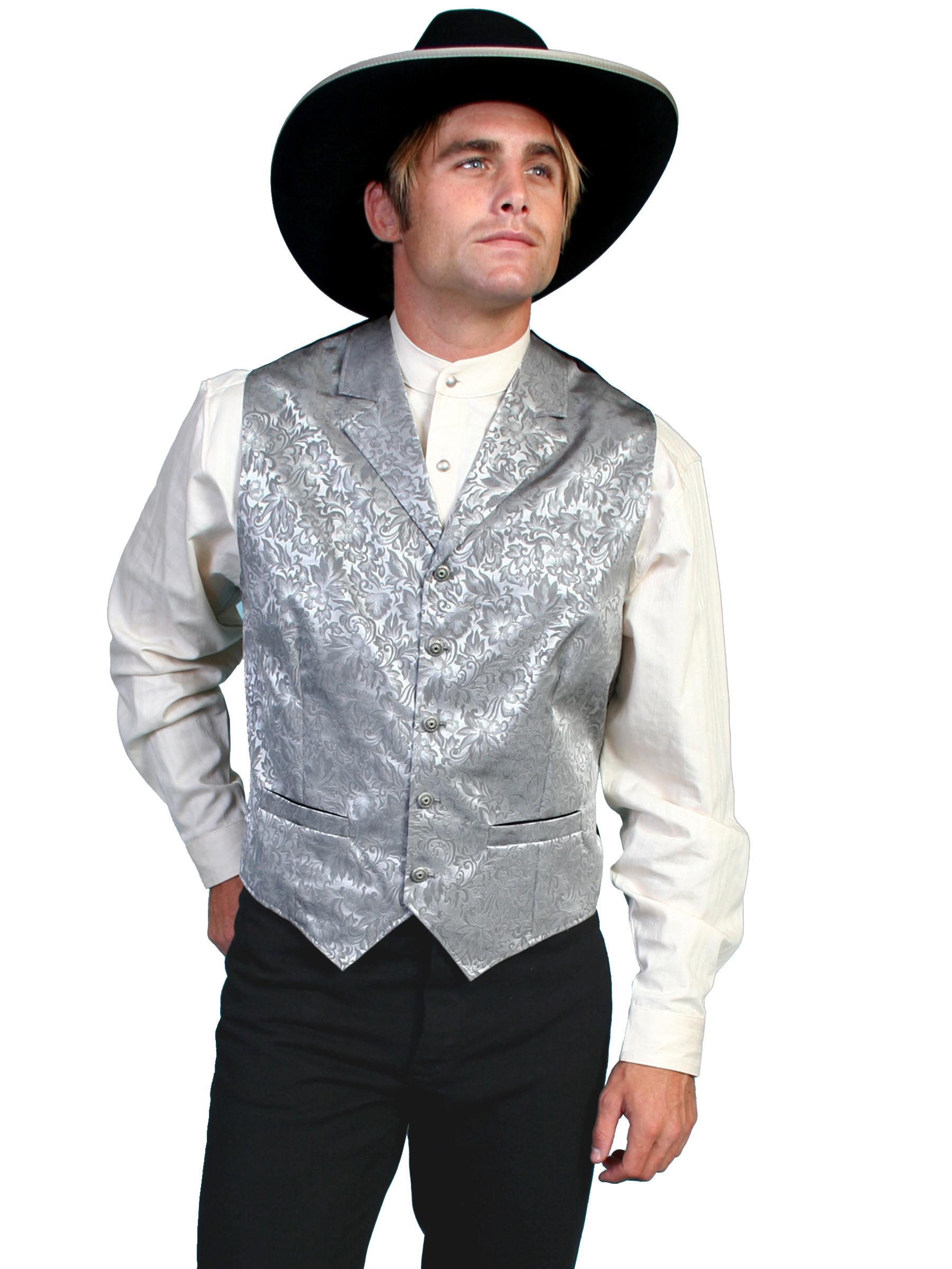Whamaker Mens Silk Floral Print Old West Vest
