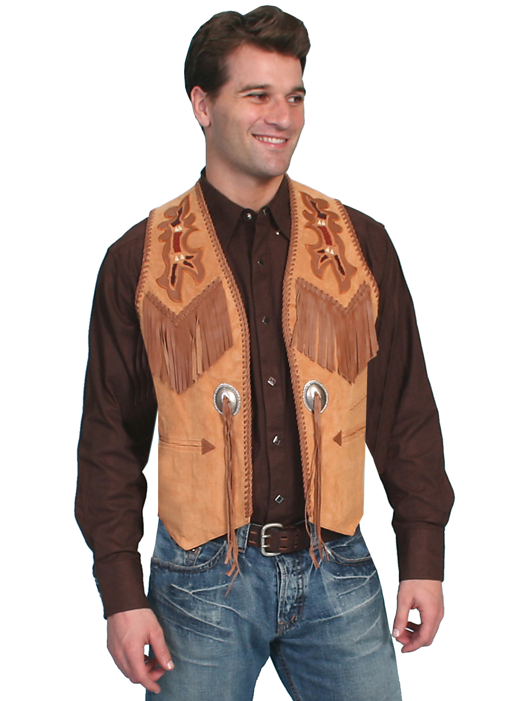 Scully men 39 s suede fringe laced western vest for Mens shirt with tassels