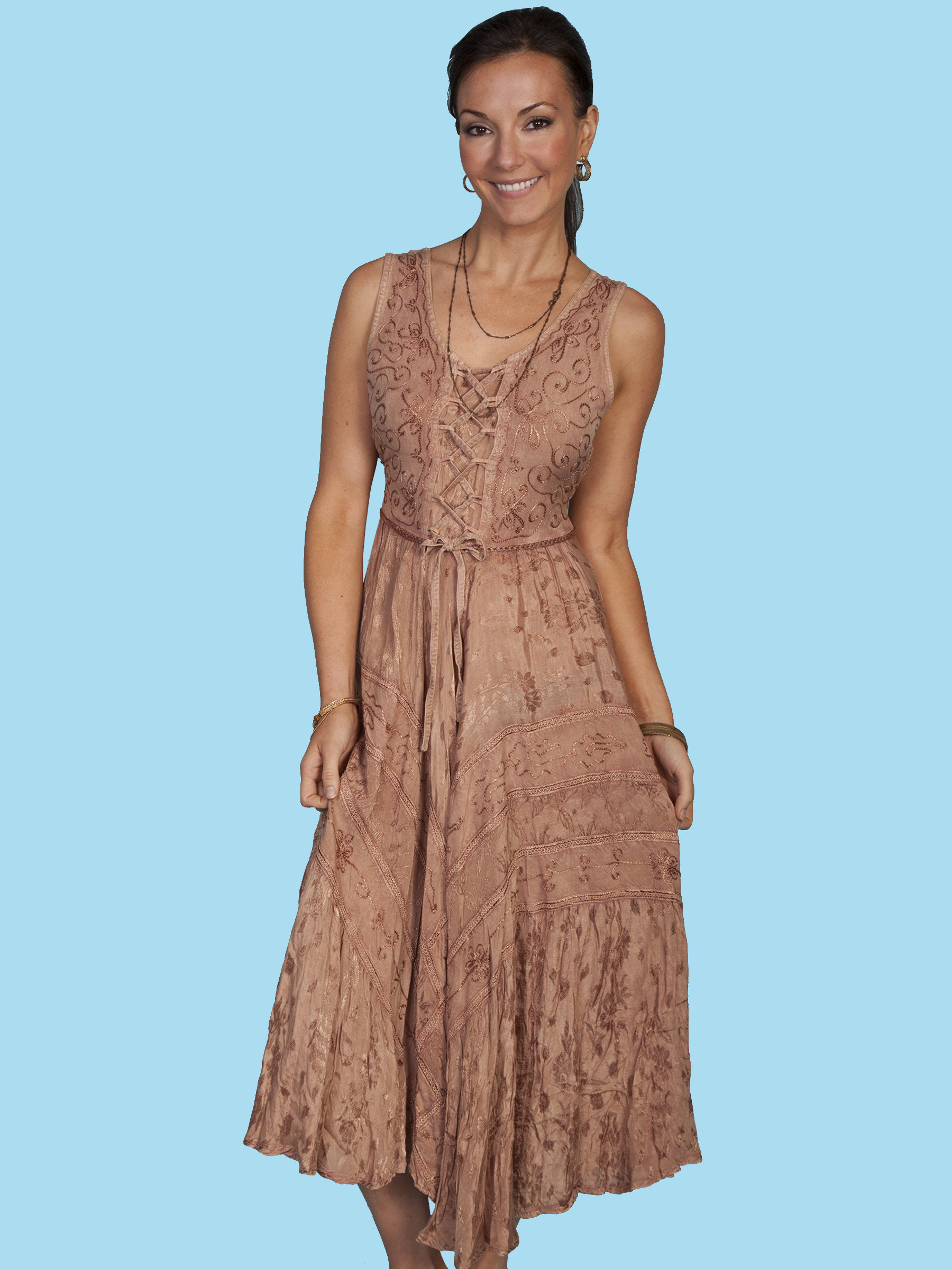 scully174 embroidered sleeveless laceup western dressclearance