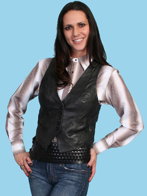 Scully 174 Women S Black Leather Lamb Western Vest