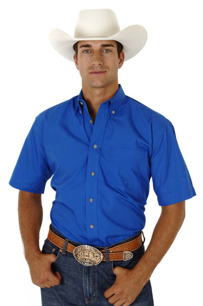 Roper mens cotton short sleeve button down cowboy shirt for Royals button up shirt