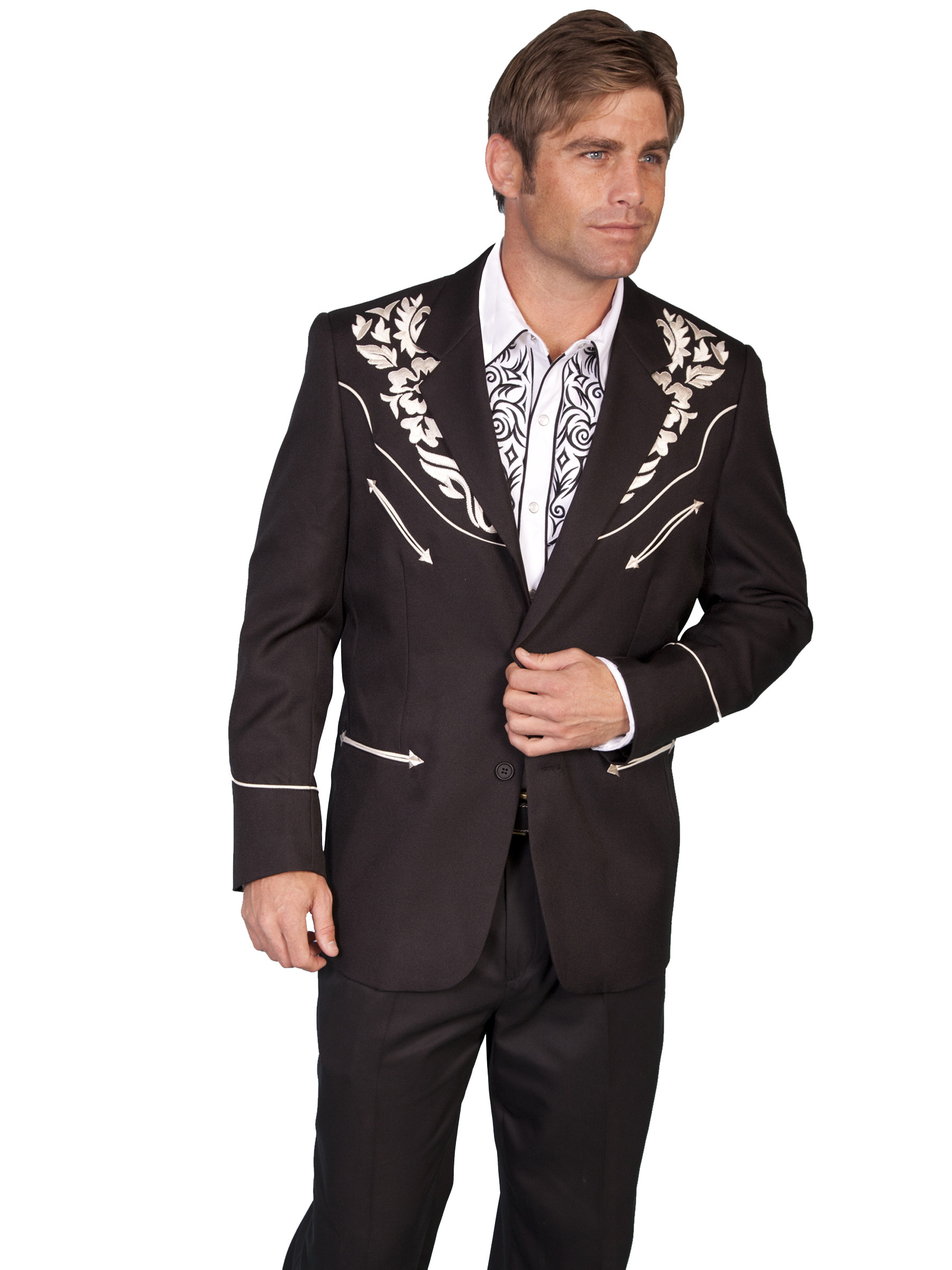 Scully 174 Mens Black Floral Embroidered Western Sport Coat