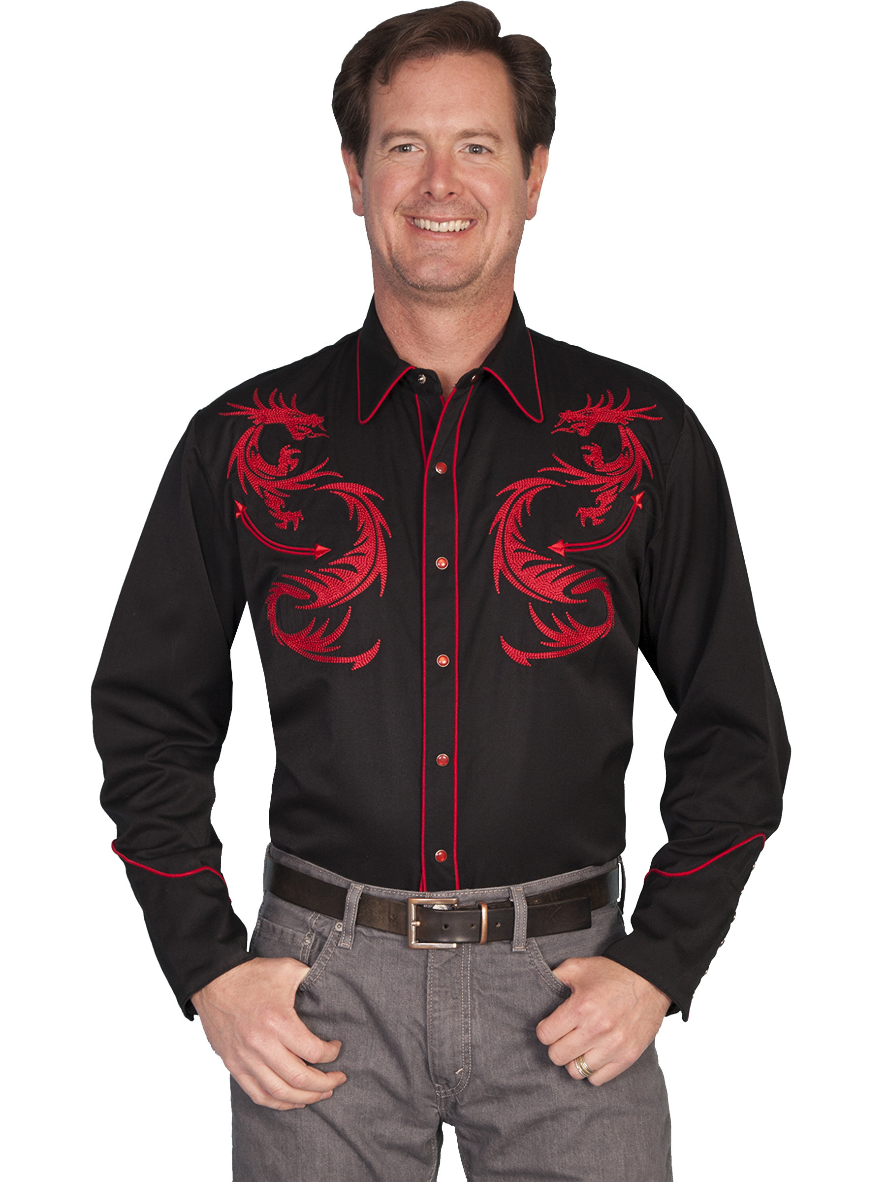 scully 174 mens embroidered black ls western