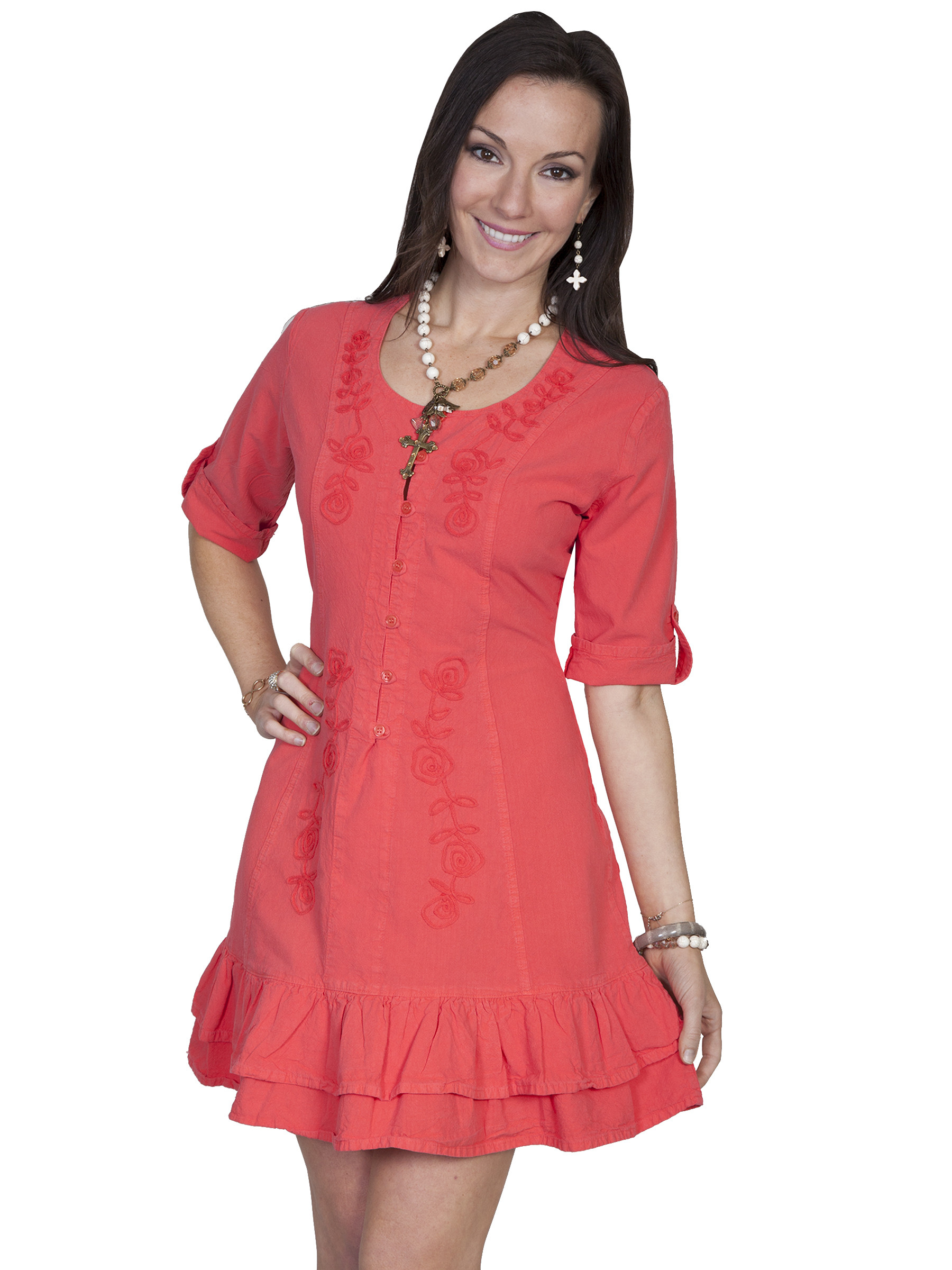 Scully 174 Womens Cotton 3 4 Sleeve Lace Up Cowgirl Dress