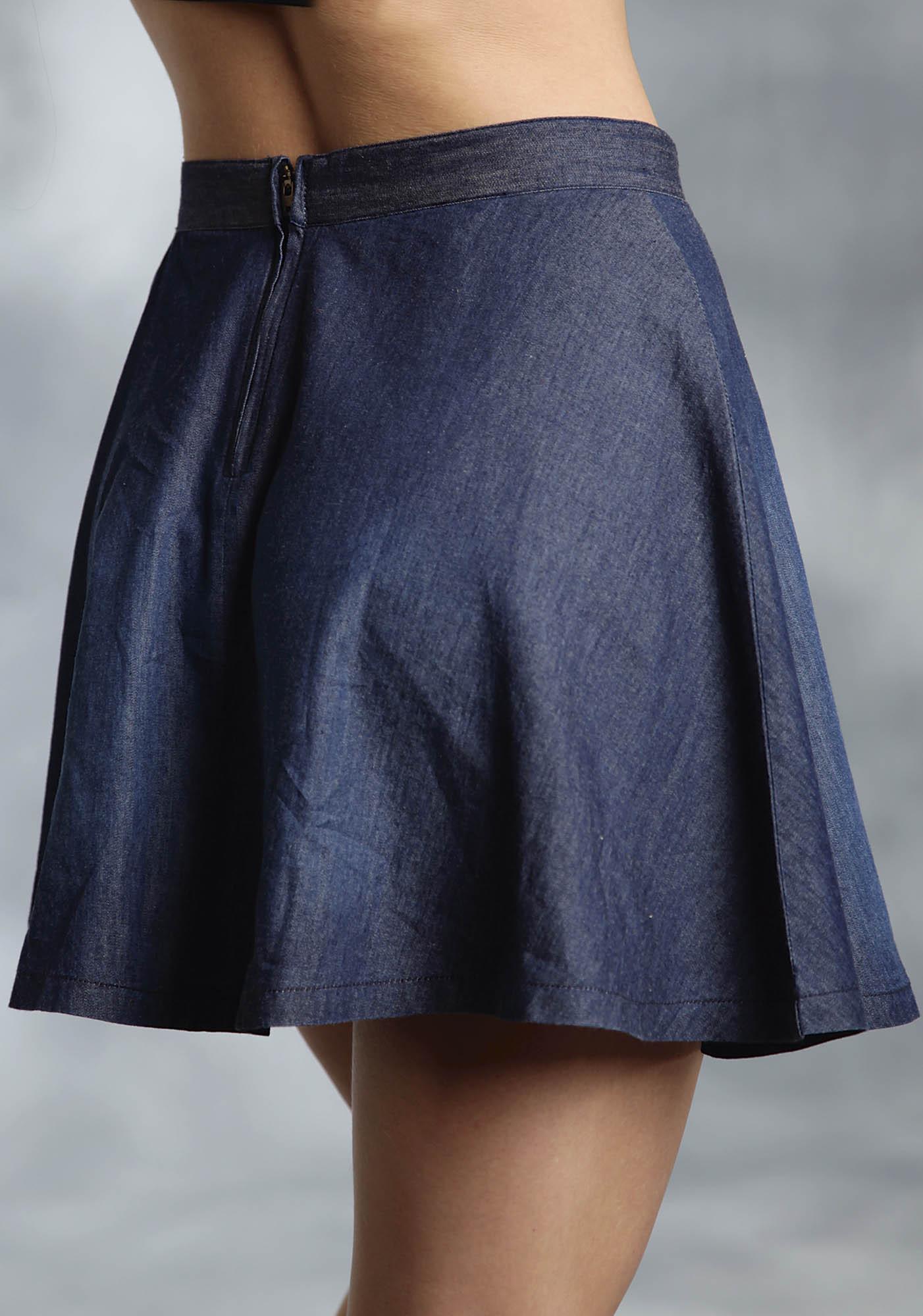 roper 174 blue denim western skater skirt