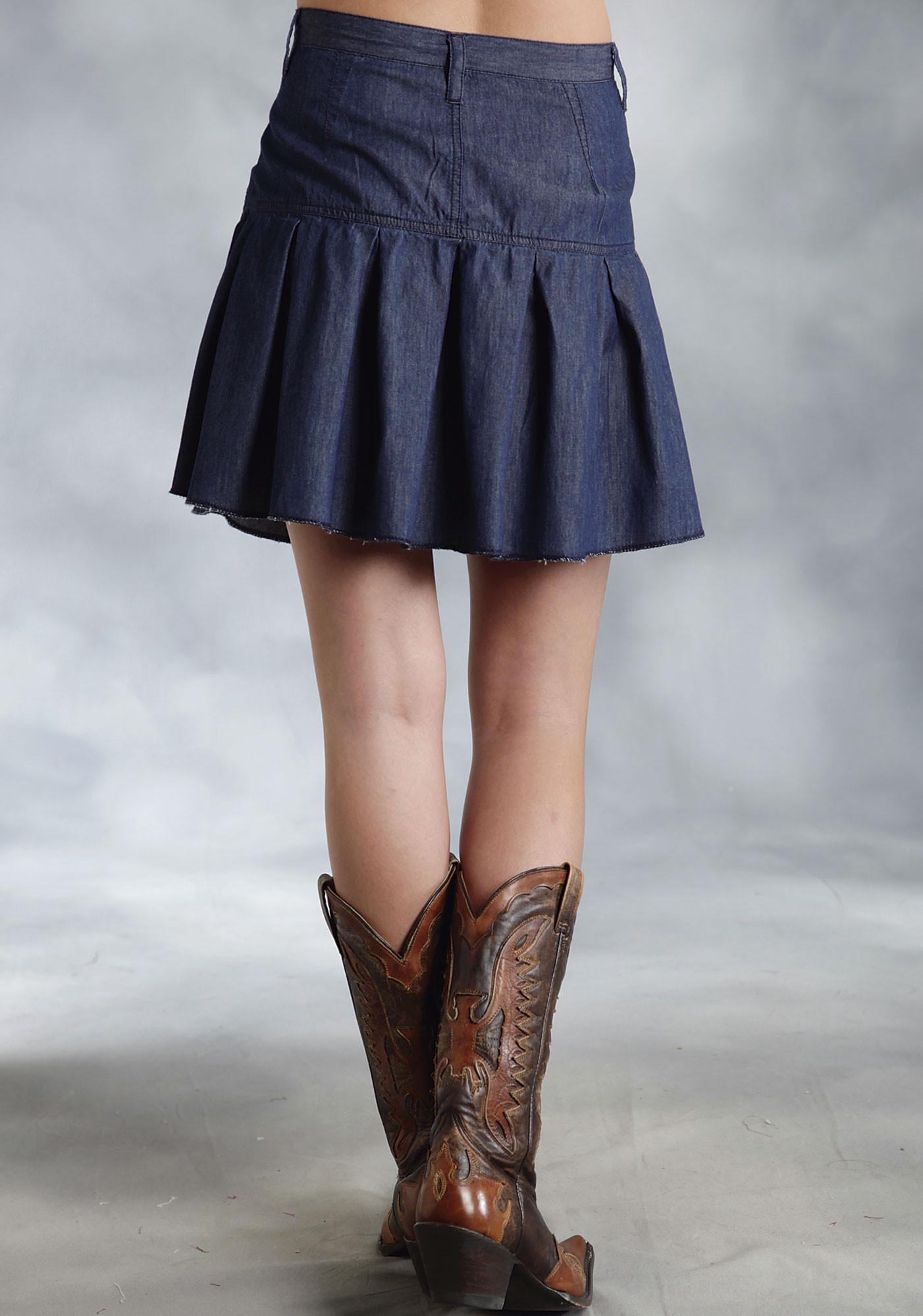 roper 174 denim pleated mini western skirt