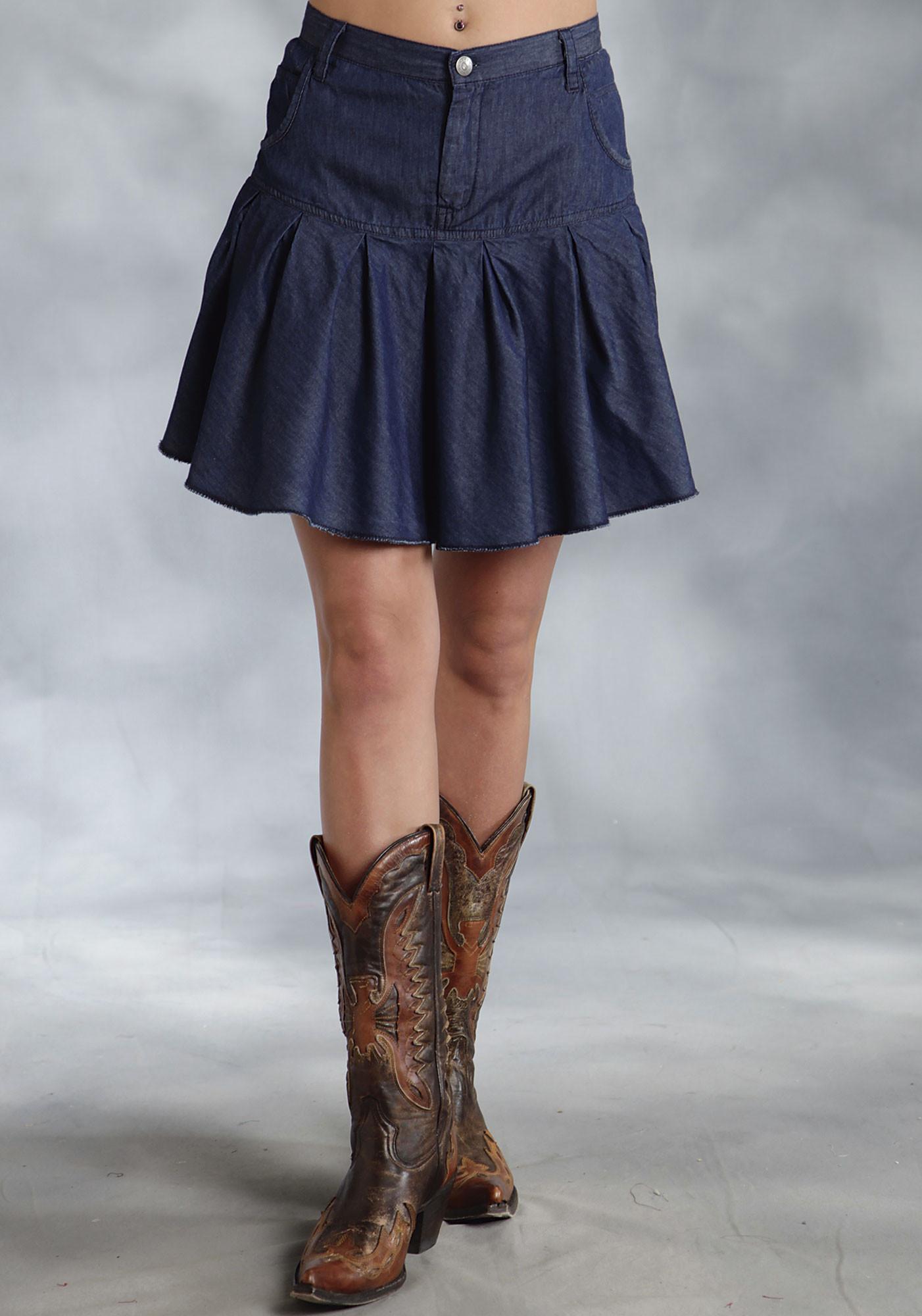 Pleated Denim Skirt - Skirts