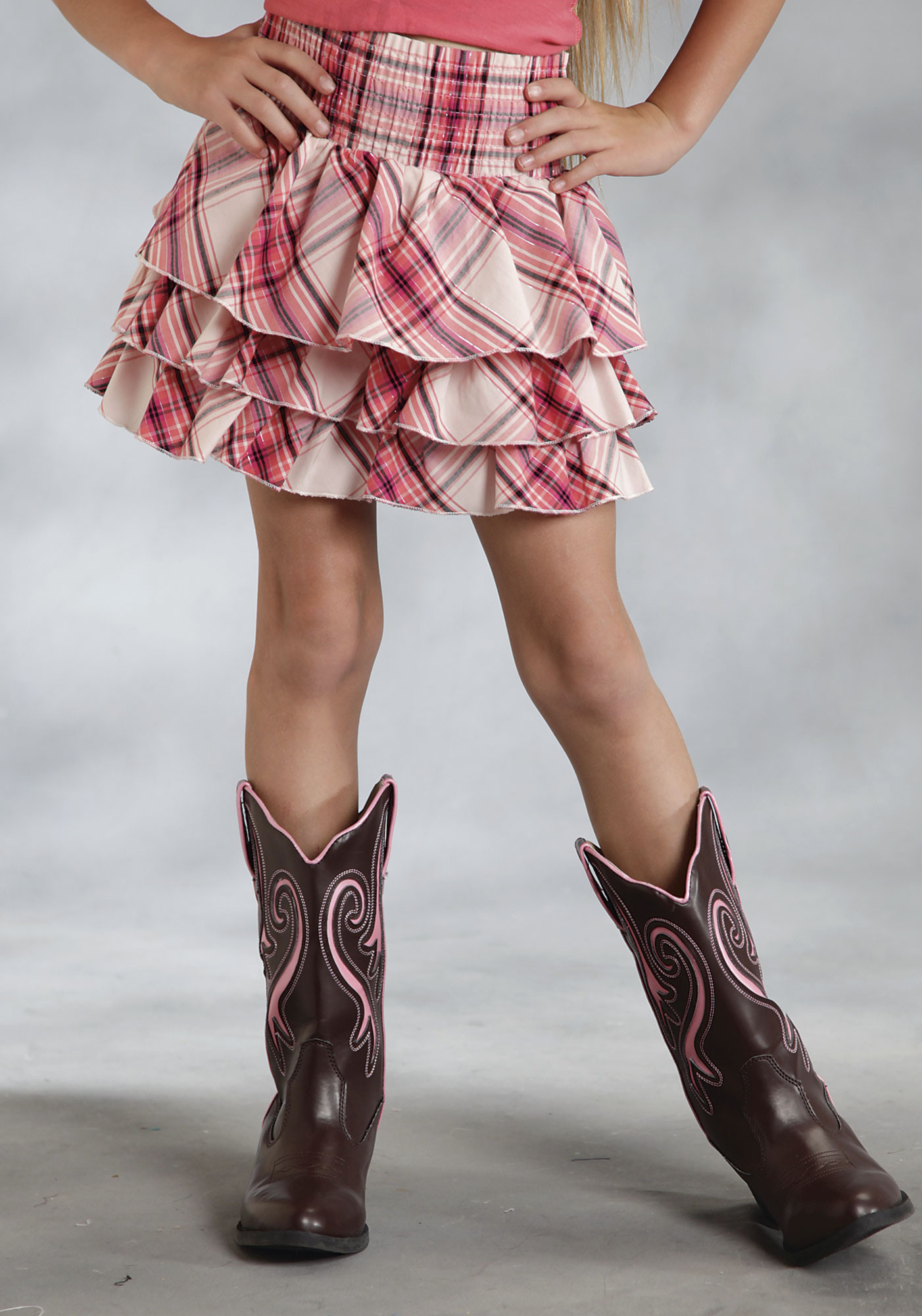 Roper® Girls Pink Plaid Ruffled Elastic Waist Mini Skirt