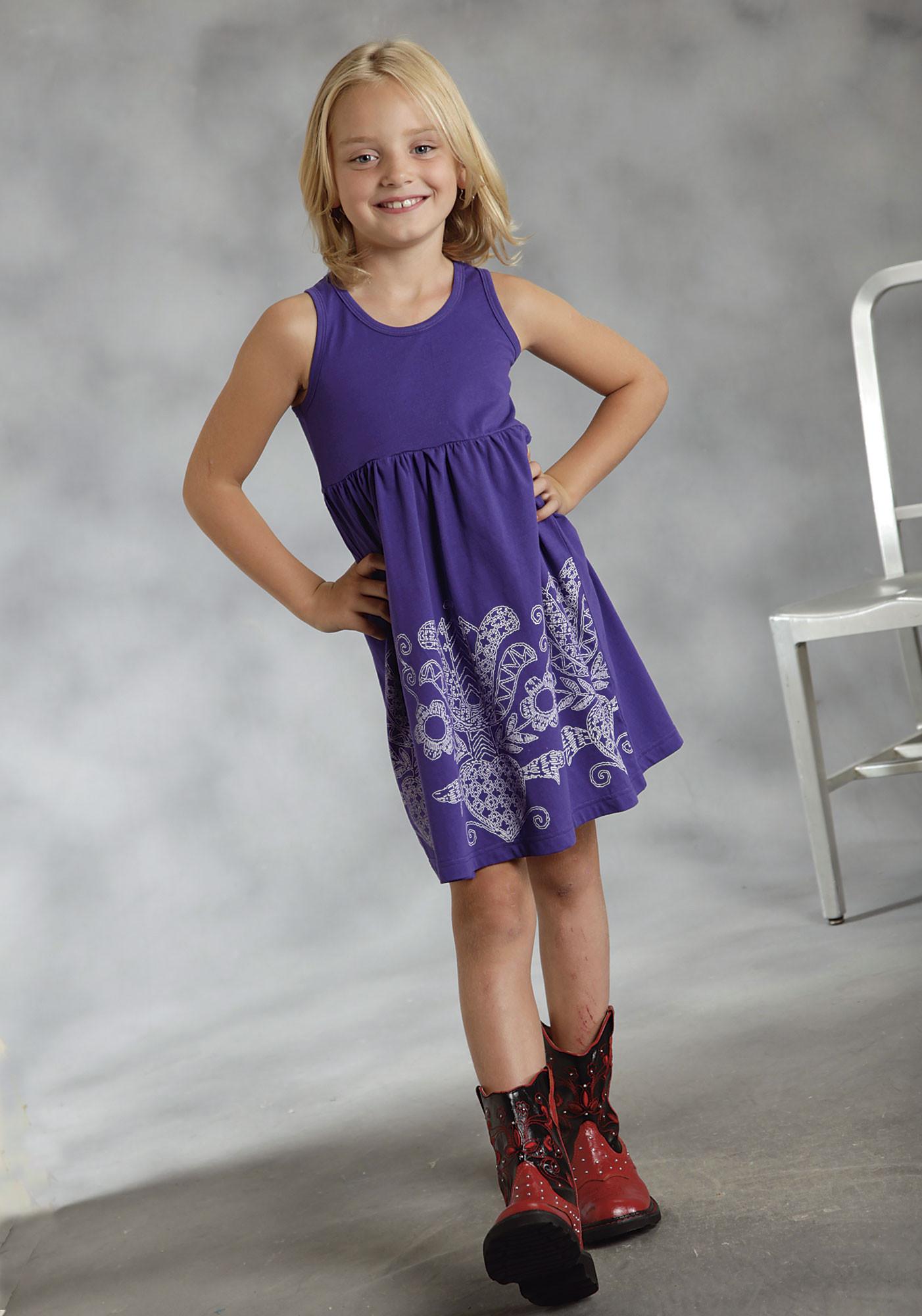Roper® Girls Purple Stawberry Print Tank Western Dress