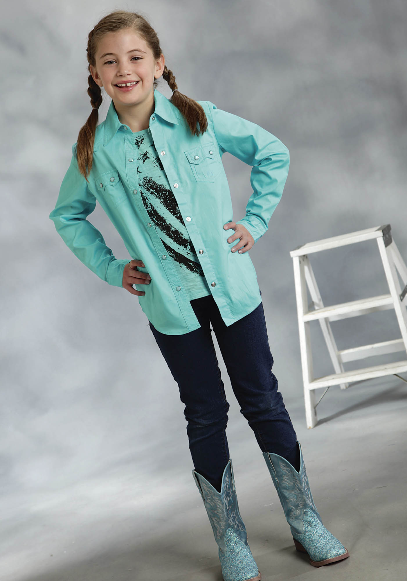 Roper girl 39 s turquoise poplin long sleeve snap western shirt for Women s turquoise long sleeve shirt
