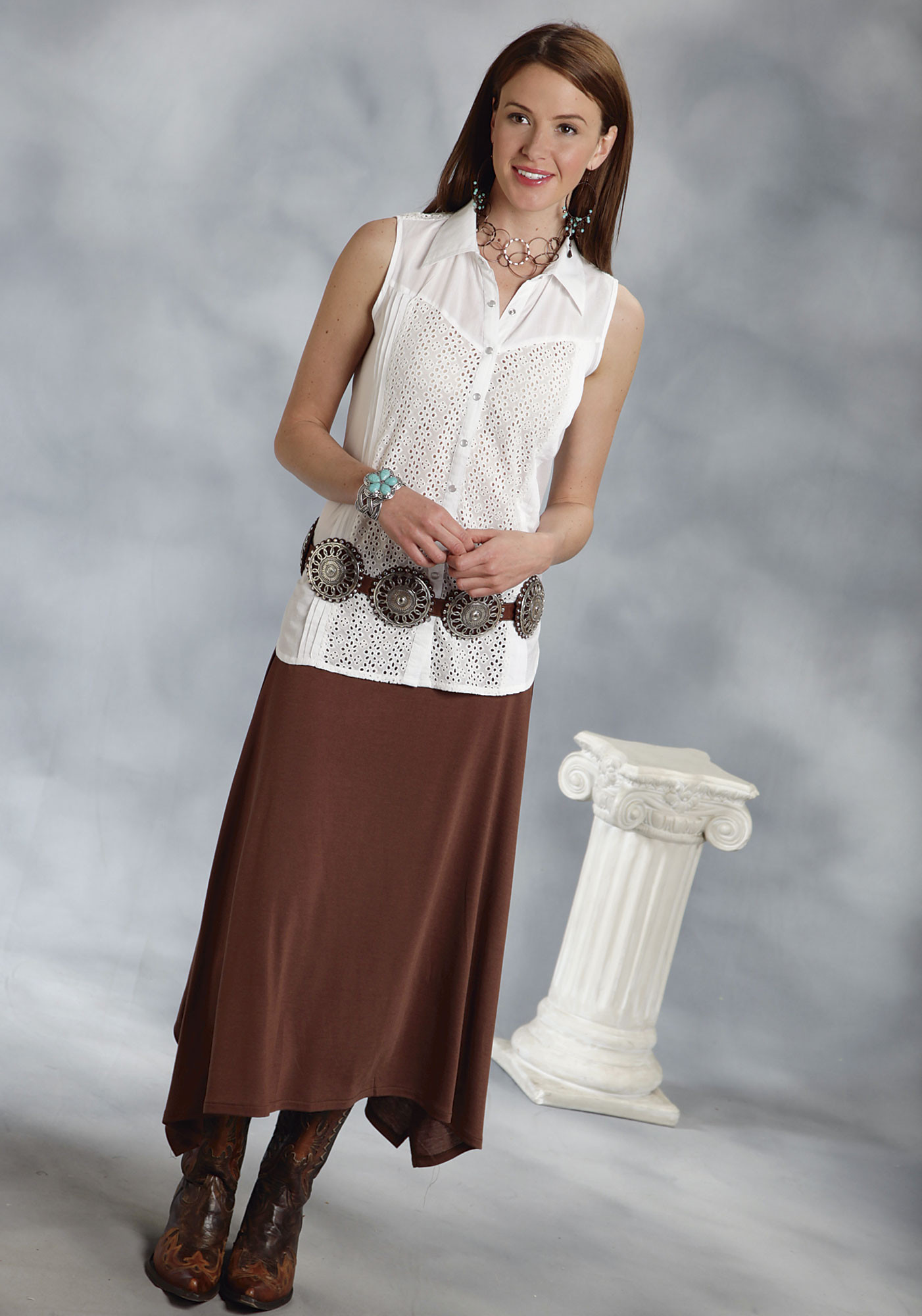 Roper® Brown Long A-Line Western Skirt