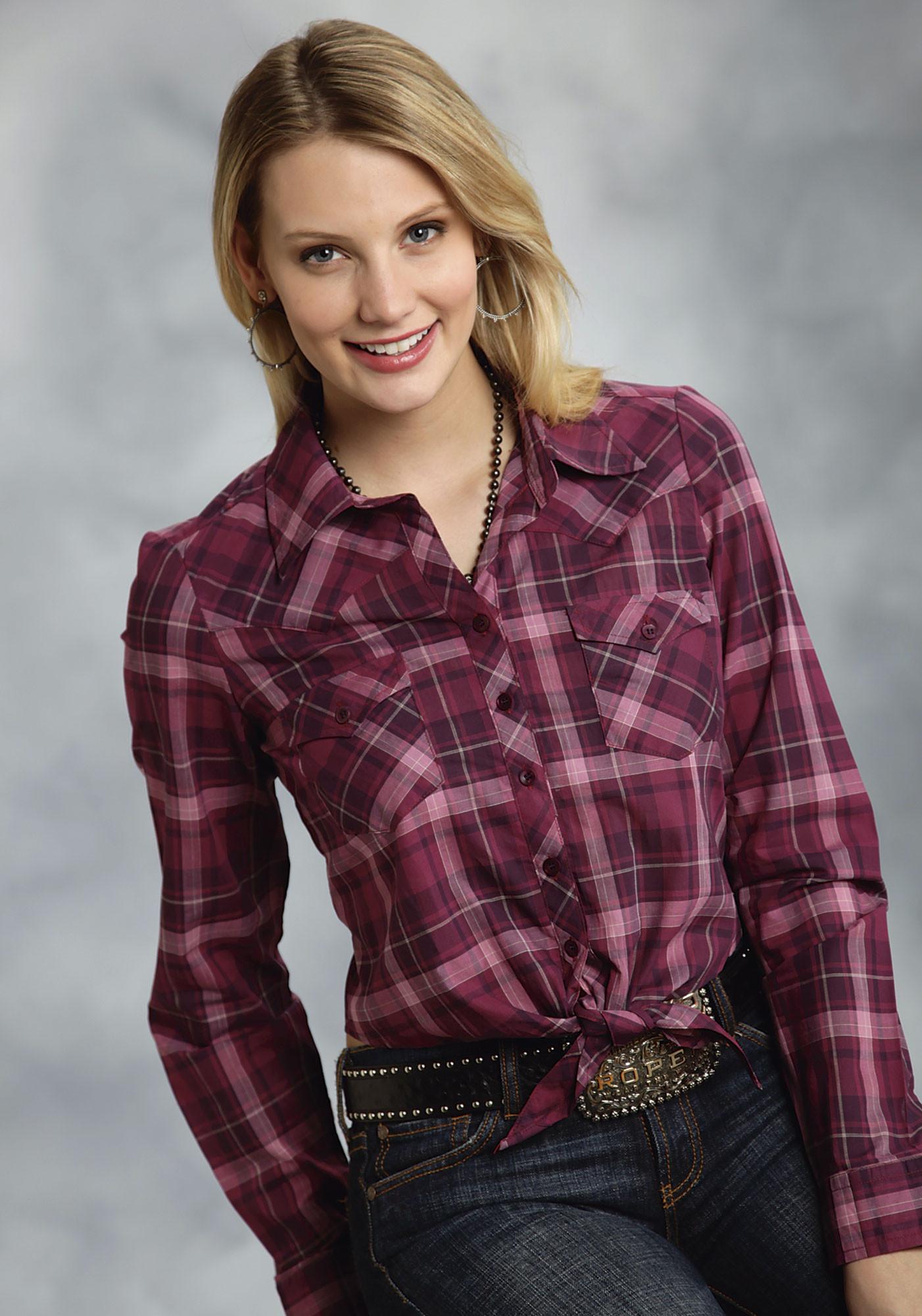 ... Roper® Ladies Purple Pink Plaid Cut-out Tie-Front LS Cowgirl Shirt - Roper® Ladies Purple Plaid LS Cowgirl Shirt