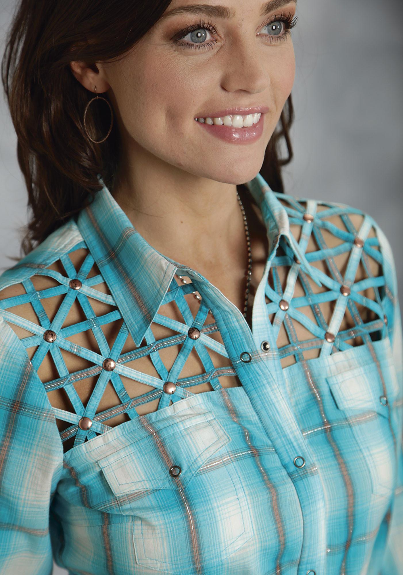 Roper 174 Ladies Turquoise Plaid Fancy Yokes Ls Western Shirt