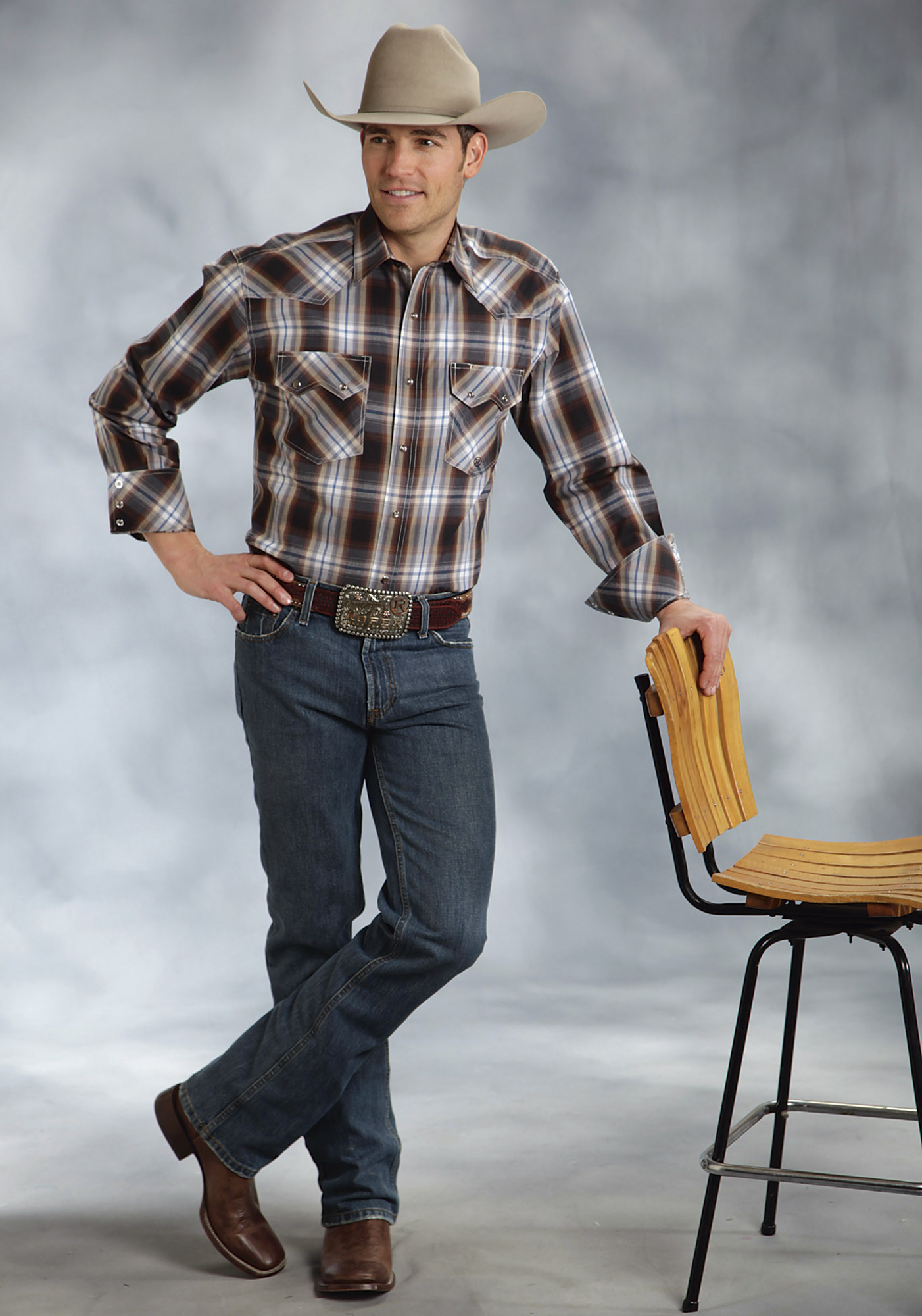 Roper mens big tall brown hawthorne plaid long sleeve for Mens tall western shirts