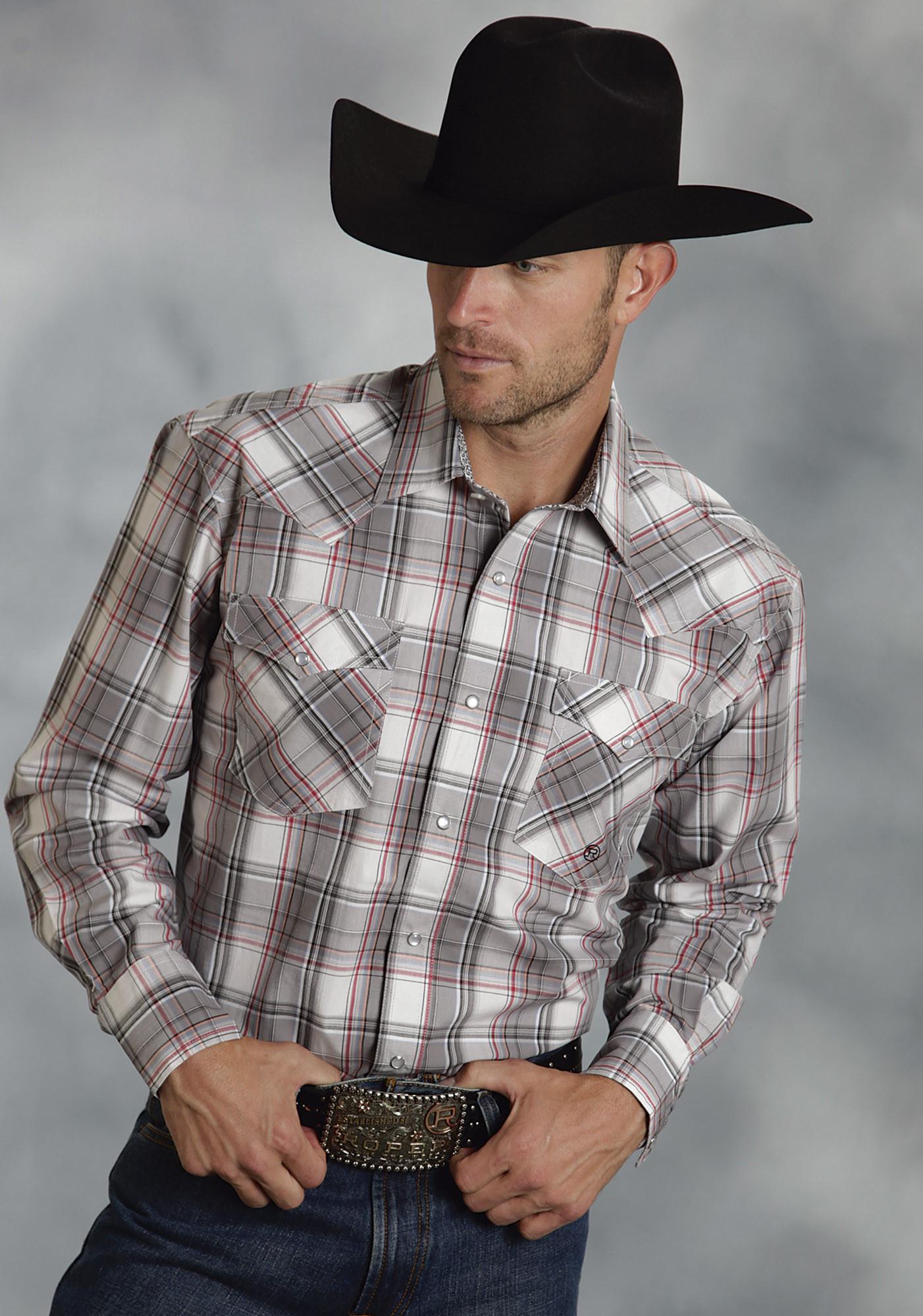 1aac3e01e Roper mens big tall grey stone plaid pearl snap western shirt jpg 1402x2000 Tall  cowboy