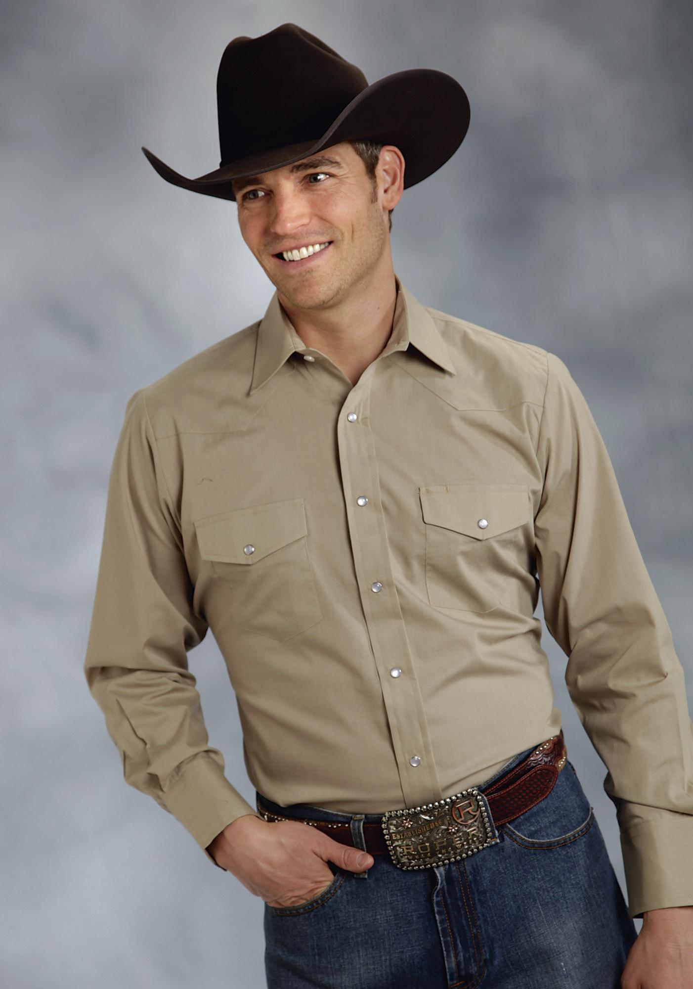 Roper mens big tall khaki broadcloth long sleeve snap for Men s big tall shirts