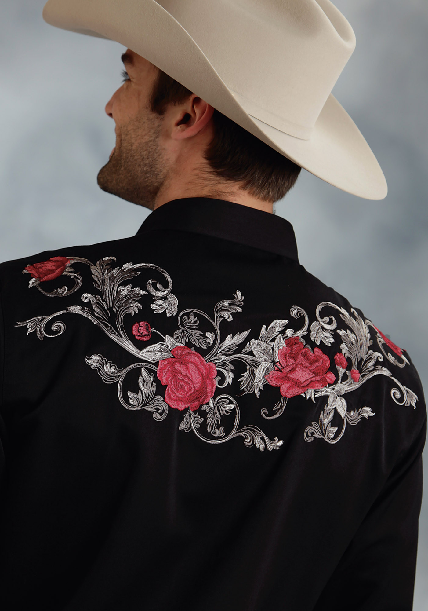 Mens embroidered western shirt baroque rose