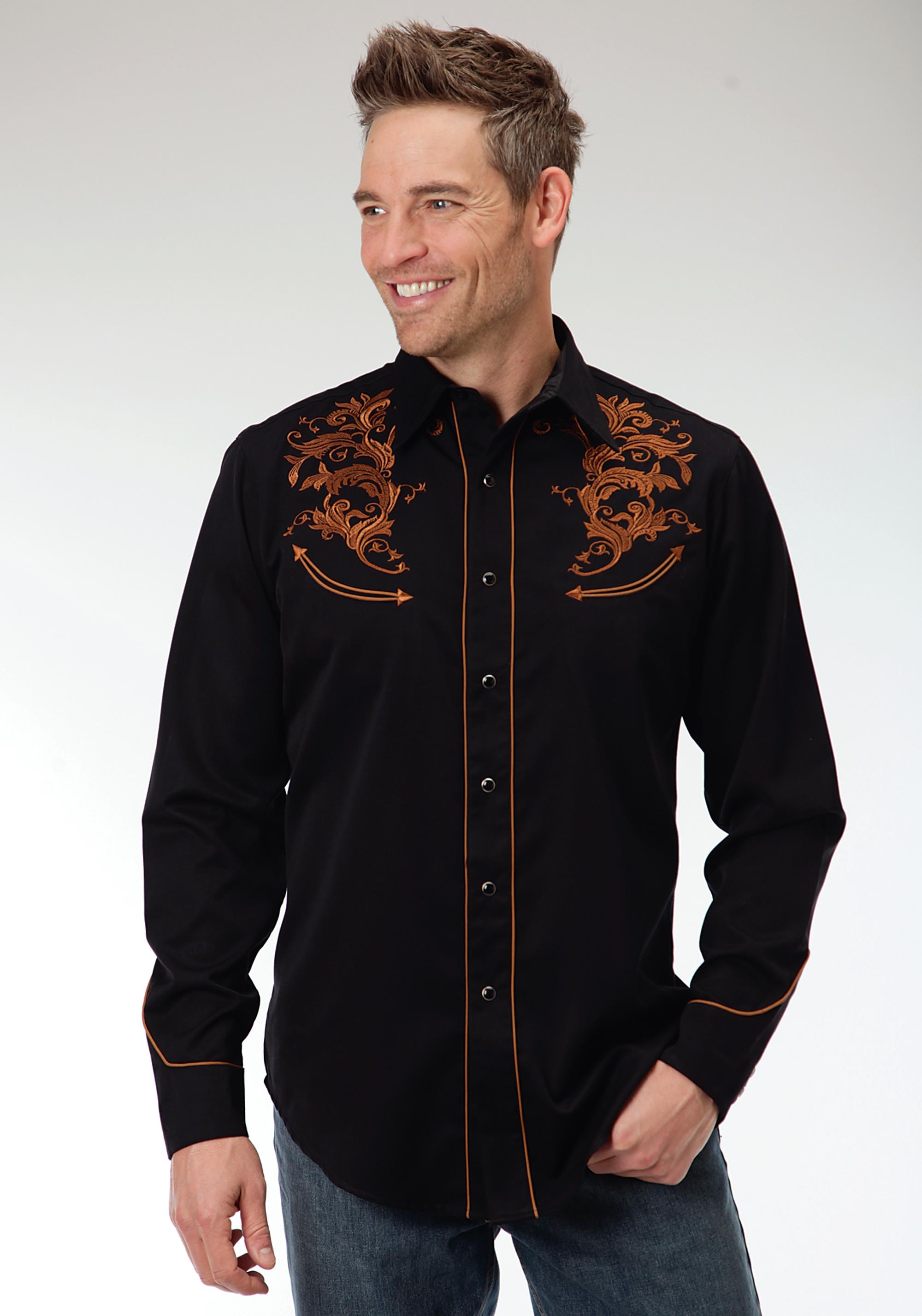 Mens Embroidered Western Shirt Russet Plume