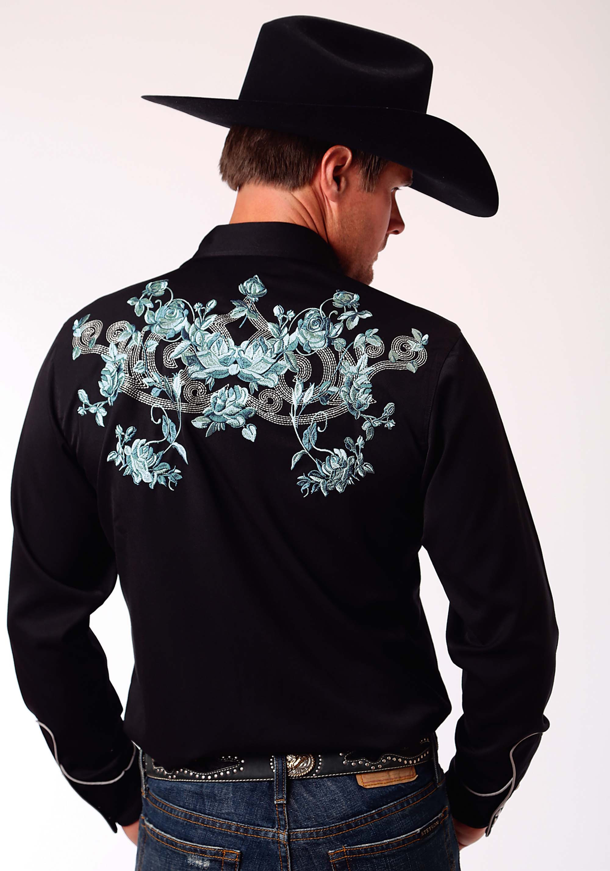 Mens Embroidered Cowboy Shirt Western Bloom