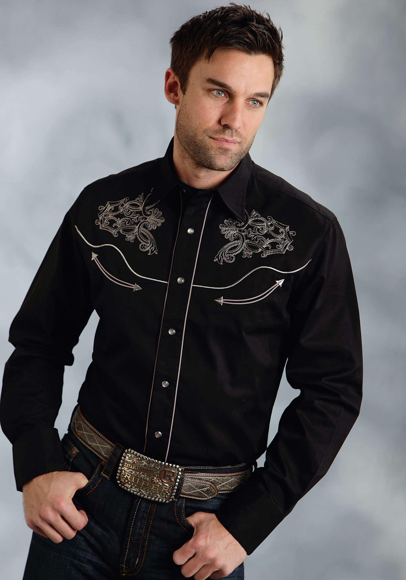 Mens embroidered western shirt ghost