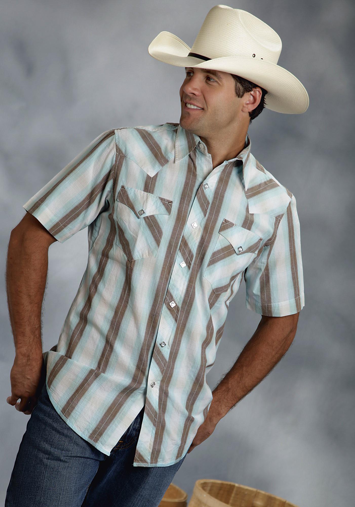 Roper Mens Blue Brown Striped Plaid Long Sleeve Pearl