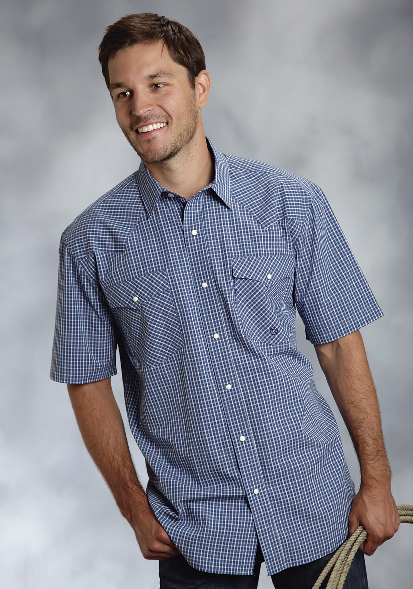 Roper Mens Blue Checked Short Sleeve Pearl Snap Cowboy Shirt