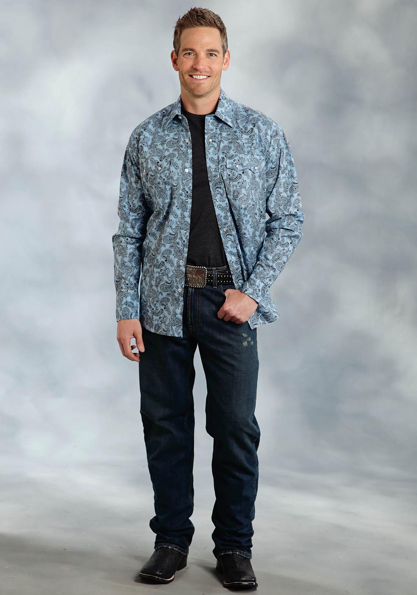 Mens big tall western shirt blue shadow for Mens tall western shirts