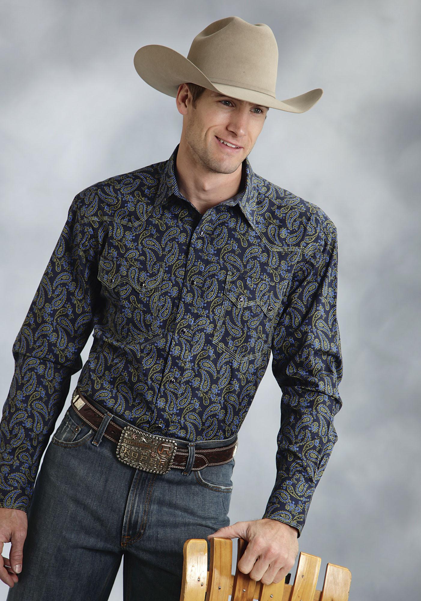 Roper mens blue paisley snap ls tall western shirt for Mens tall western shirts
