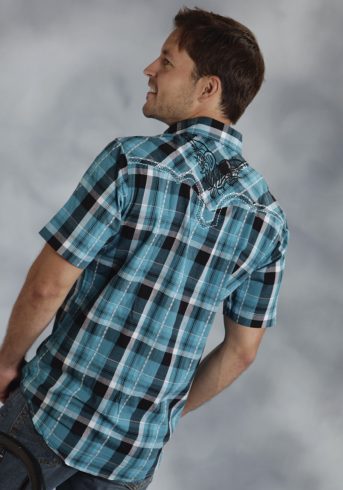 Roper mens blue spruce embroidered plaid short sleeve Short sleeve plaid shirts