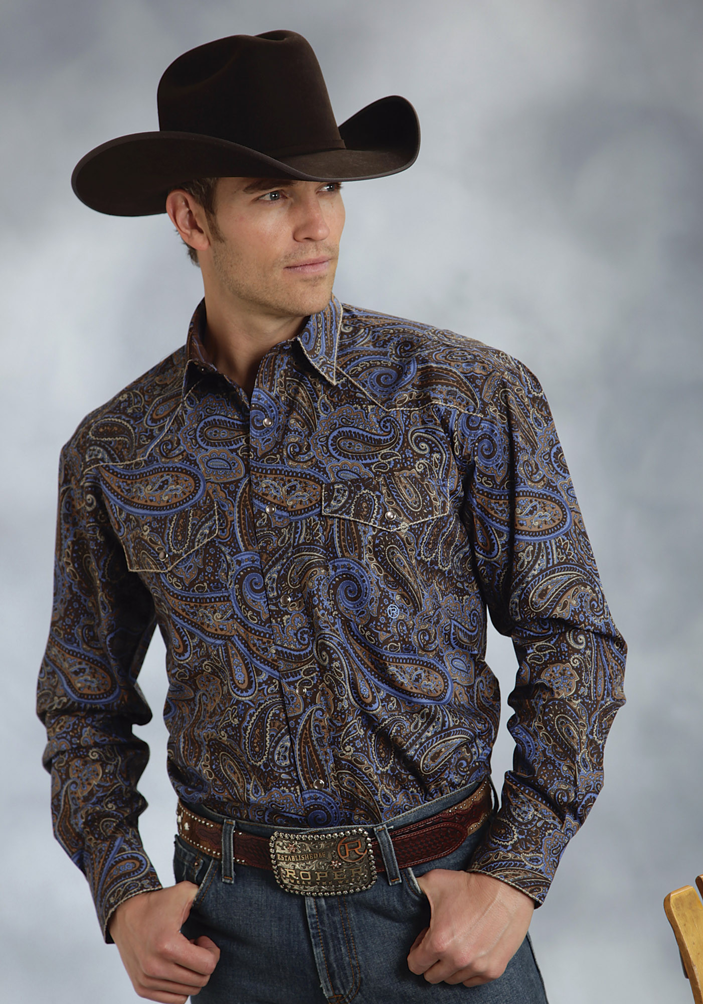 Roper mens big tall brown crushed pailsey long sleeve for Mens tall western shirts