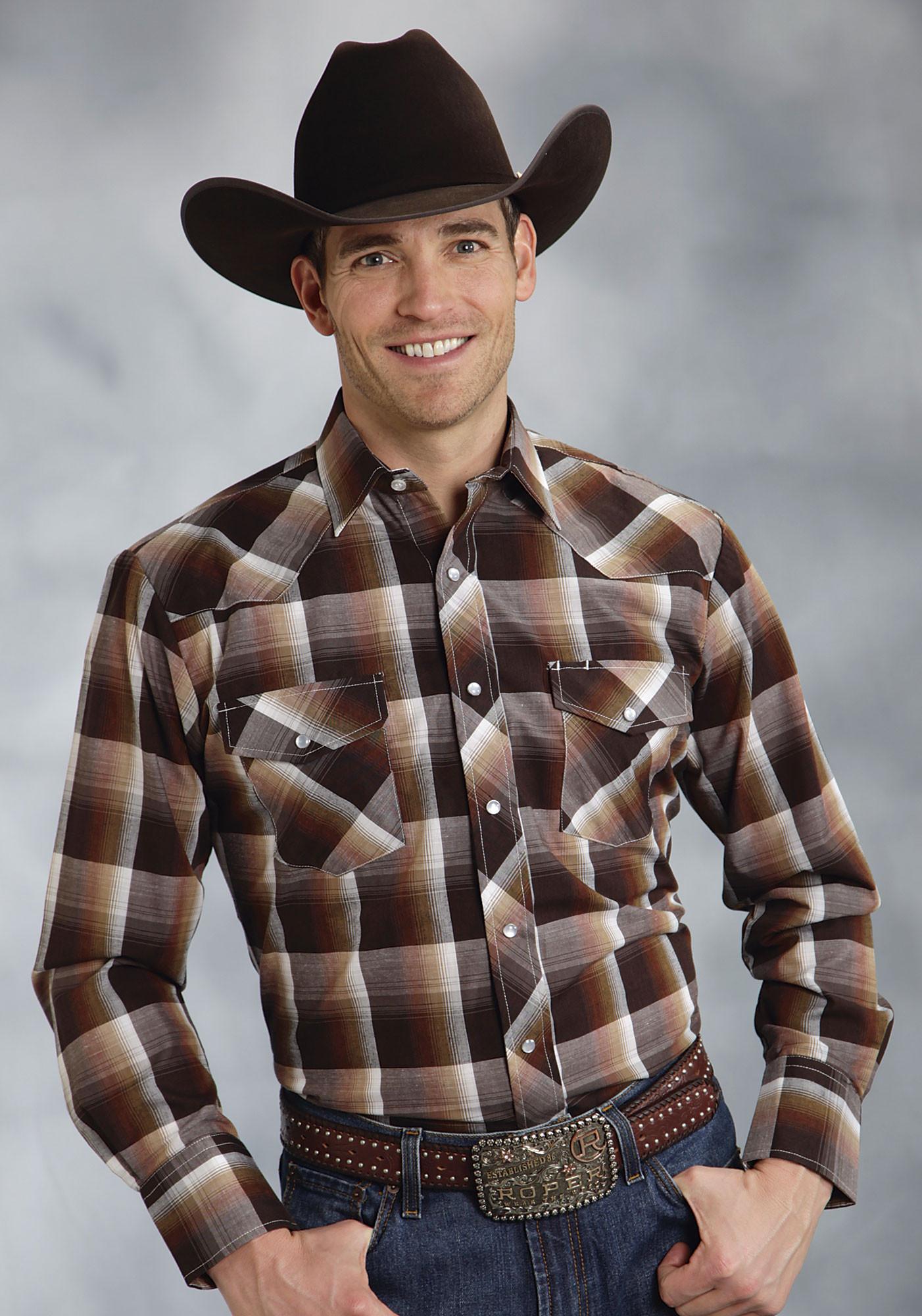 roper mens dark brown plaid ls snap cowboy shirt
