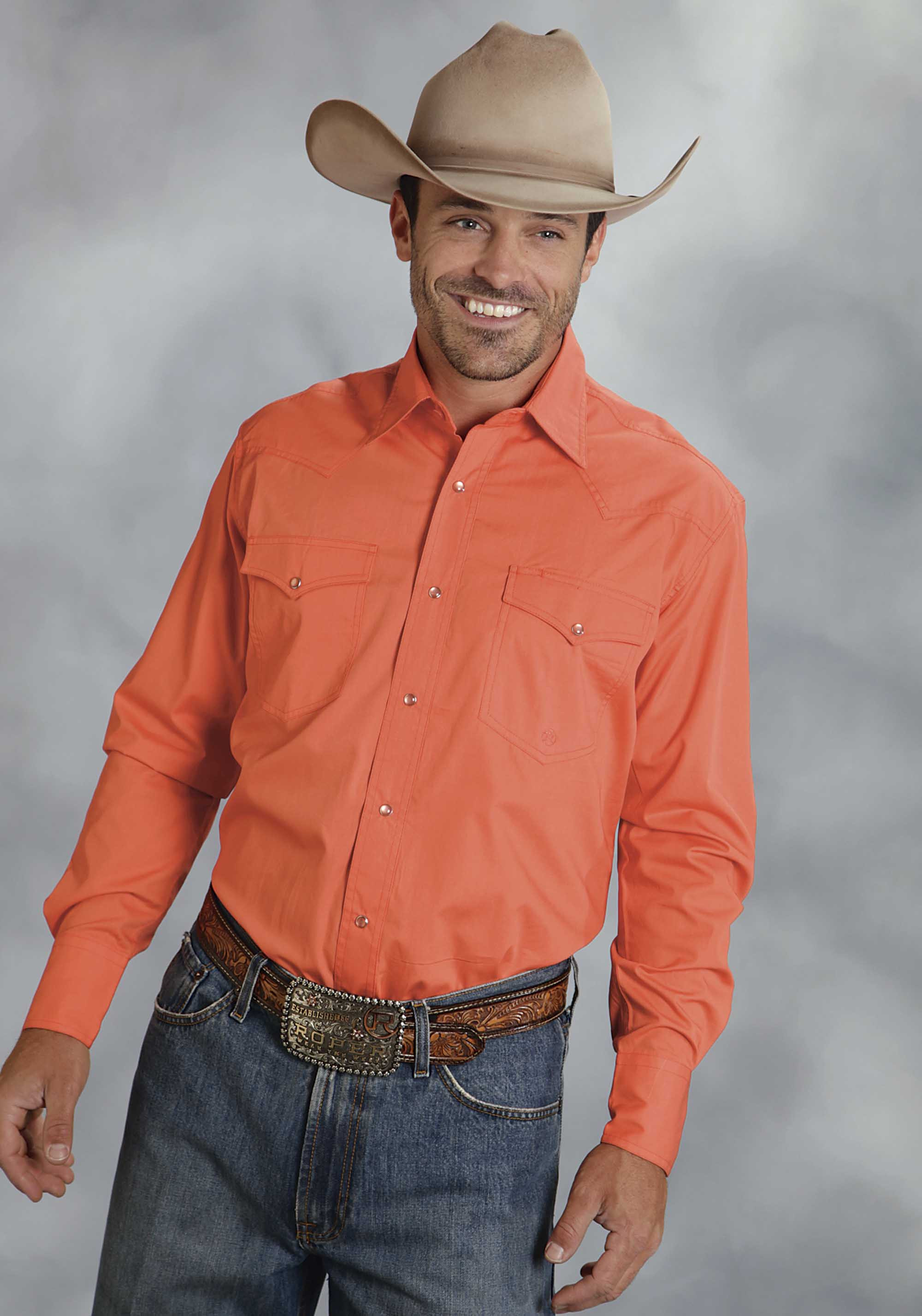 Roper men 39 s coral poplin long sleeve snap cowboy shirt for Coral shirts for guys
