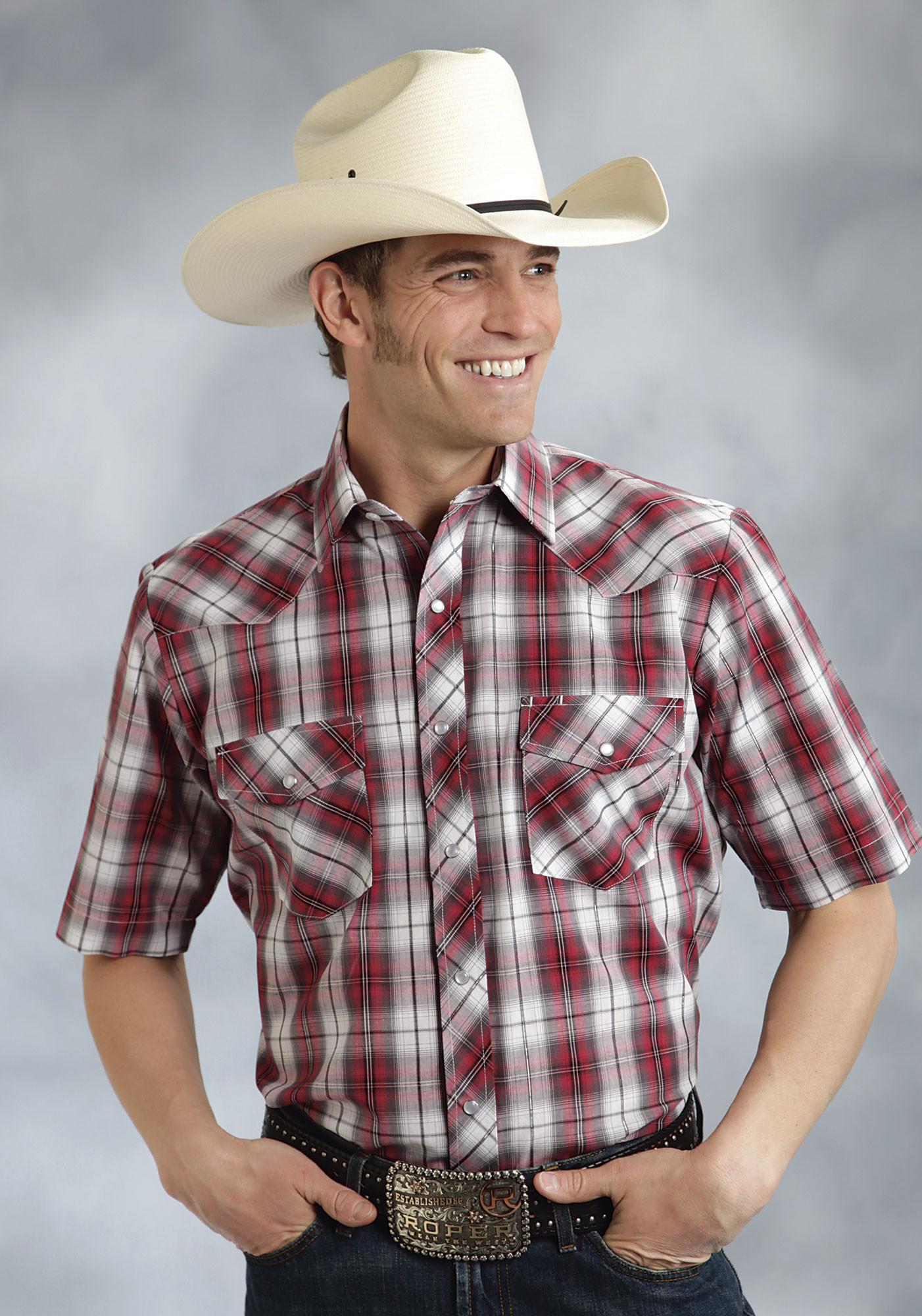 Roper Mens Tall Red And Grey Plaid Short Sleeve Pearl