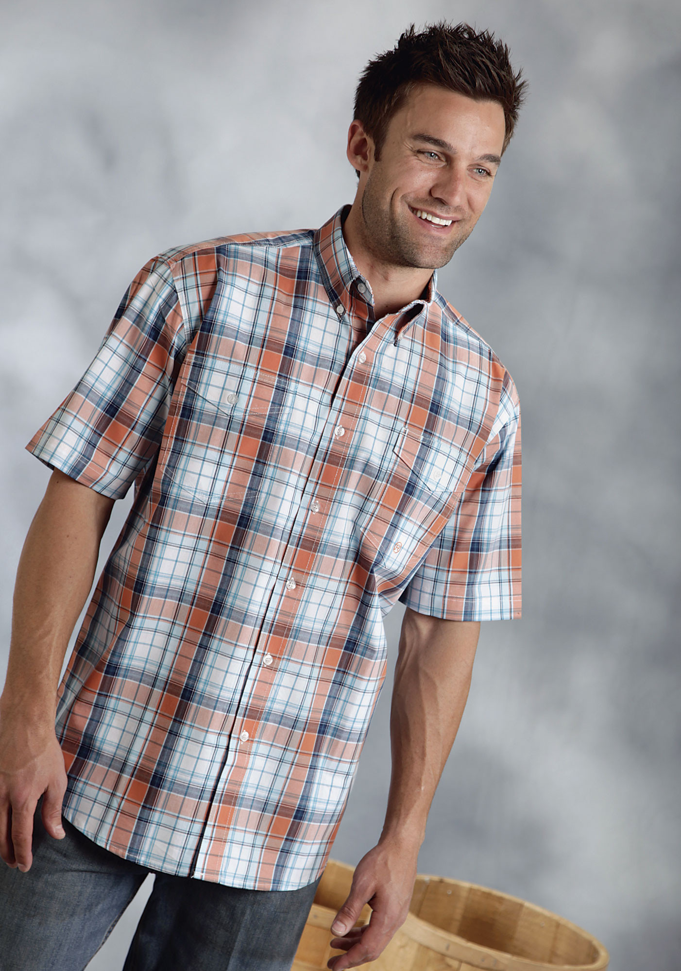 Roper mens orange plaid cotton short sleeve button down for Short sleeved shirts for men