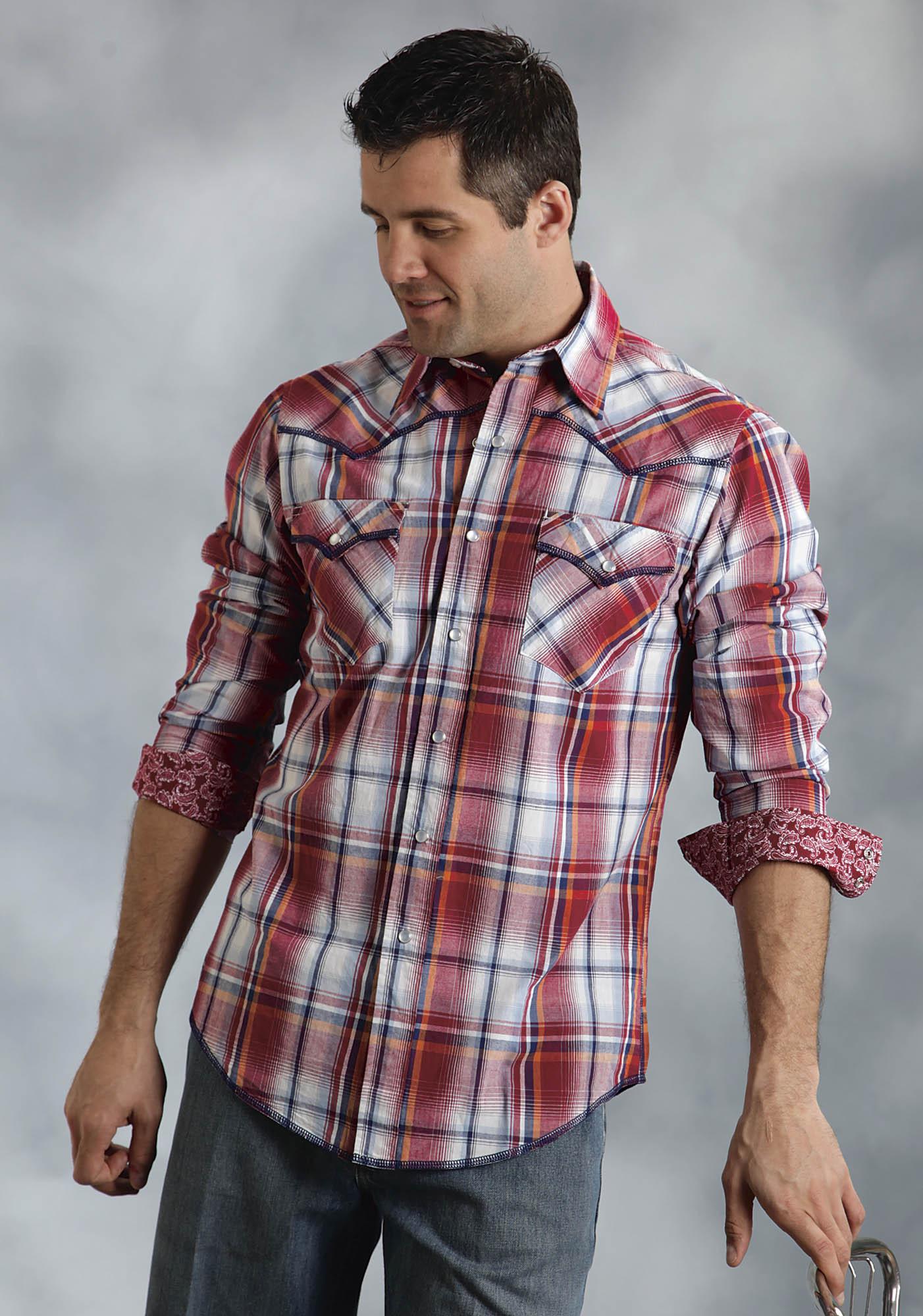 Roper mens red jubilee plaid long sleeve snap western shirt for Mixed plaid shirt mens