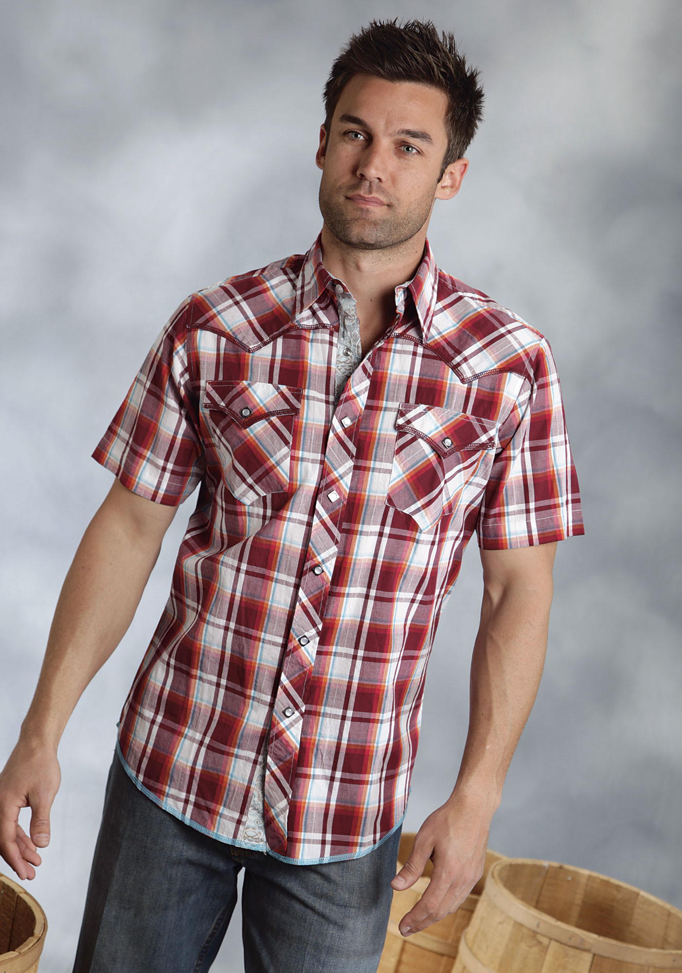 Roper mens red plaid short sleeve snap western shirt for Short sleeved shirts for men