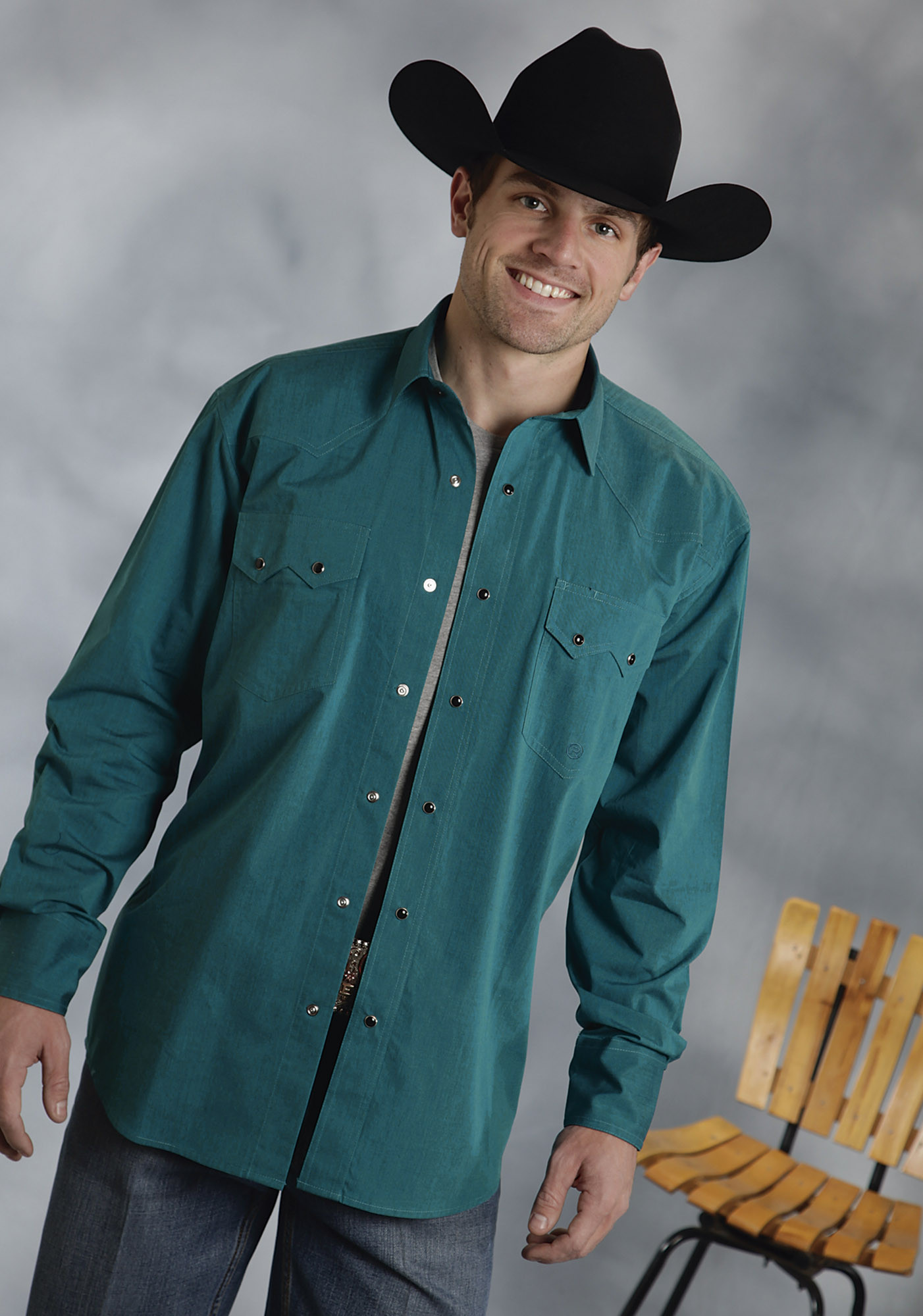 Roper® Mens Teal Long Sleeve Poplin Snap Cowboy Shirt