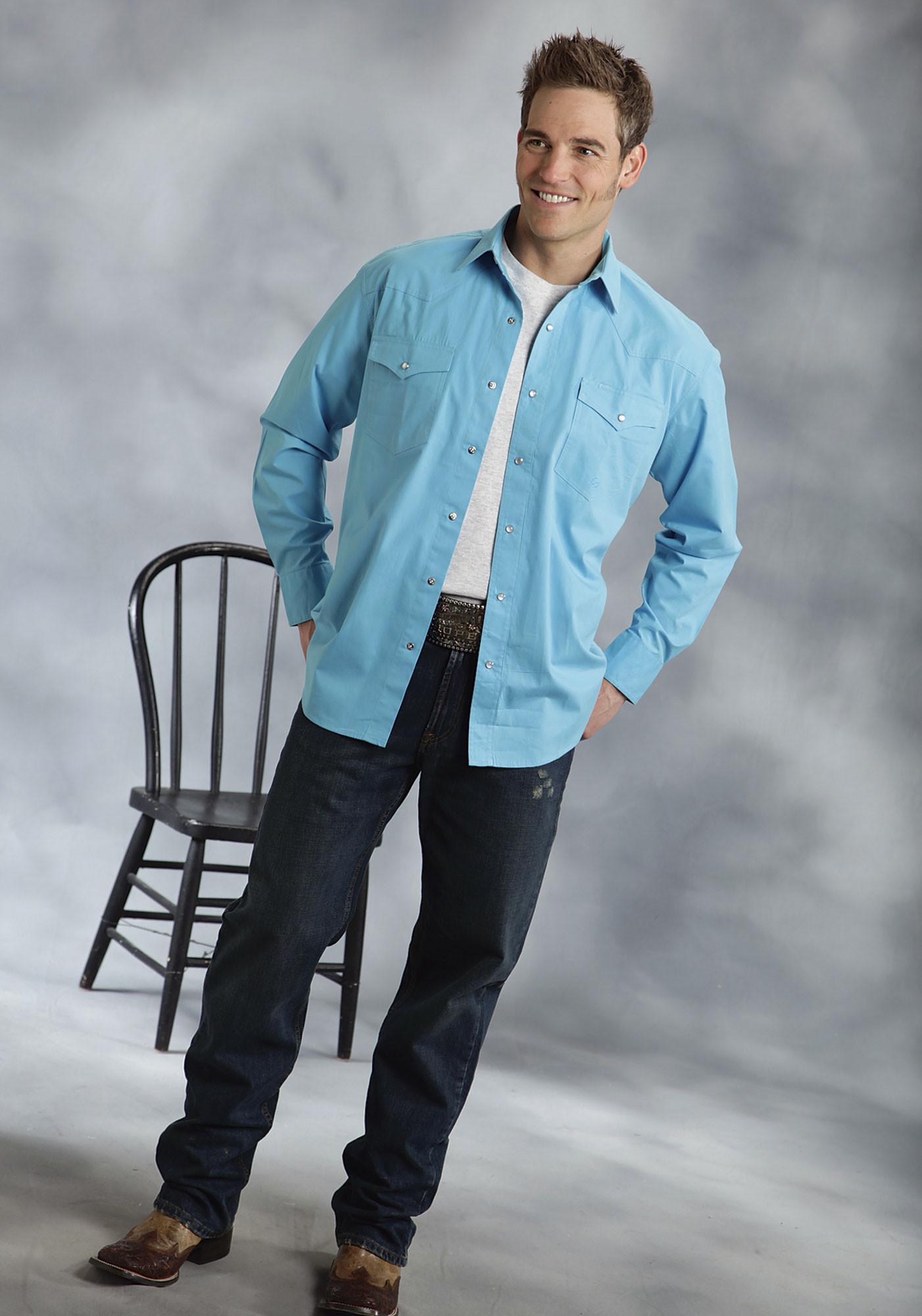 Roper Mens Tall Turquoise Poplin Long Sleeve Pearl Snap