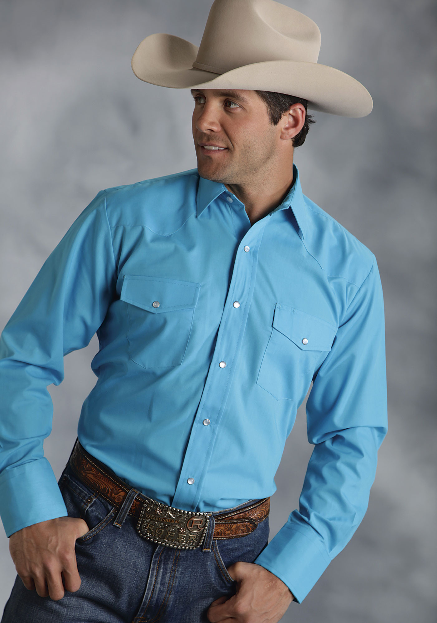 roper mens turquoise long sleeve pearl snap western show