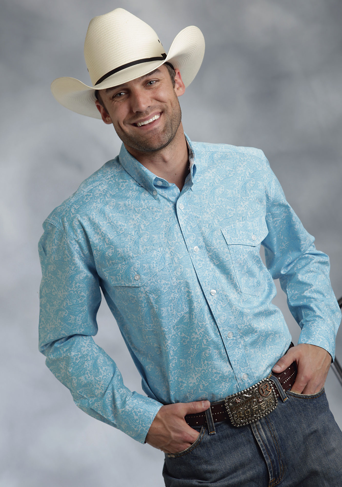 Roper® Mens Turquoise Paisley Long Sleeve Cotton Button Down ...