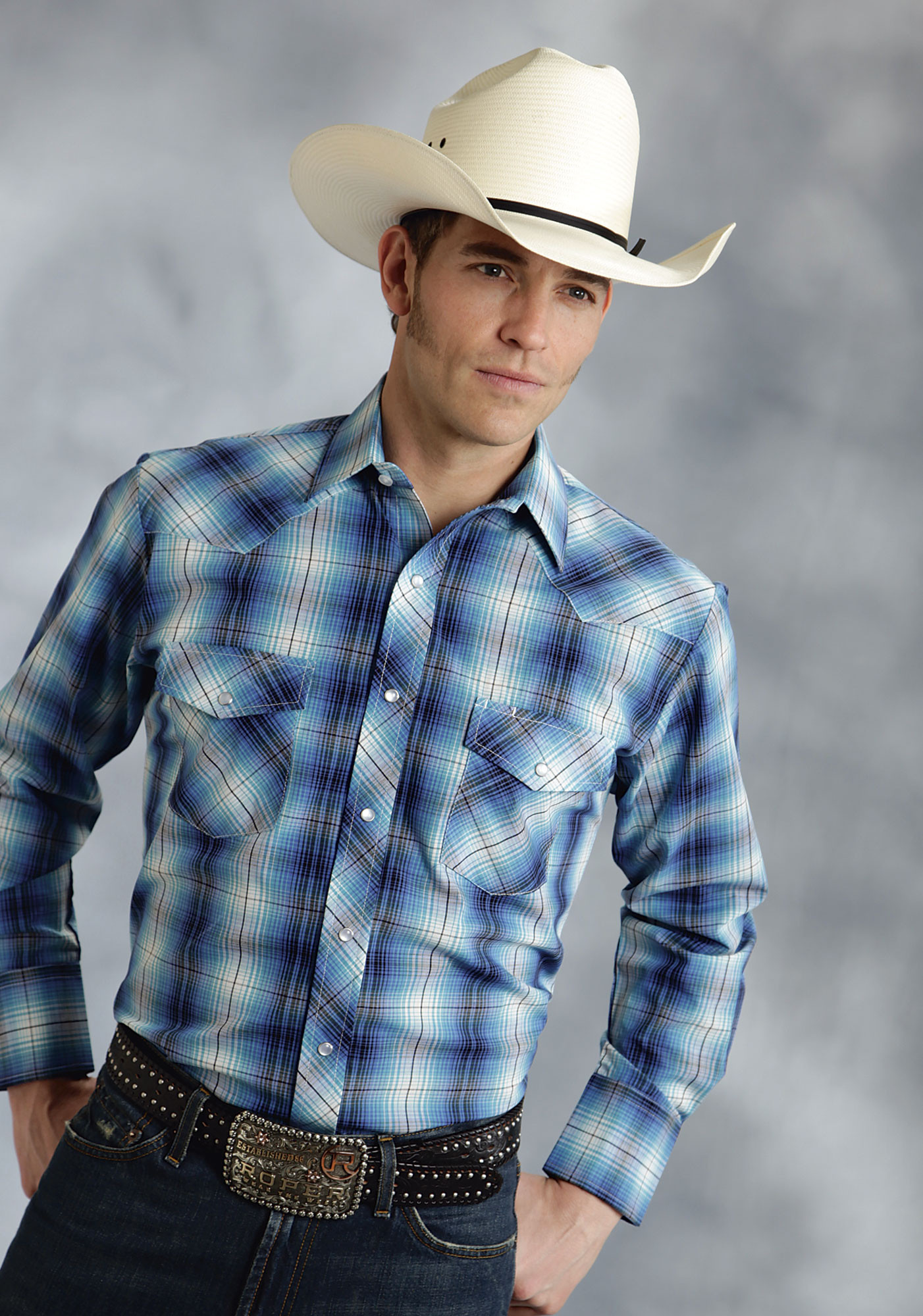 Roper Mens Bright Turquoise Plaid Long Sleeve Pearl Snap Cowboy Shirt