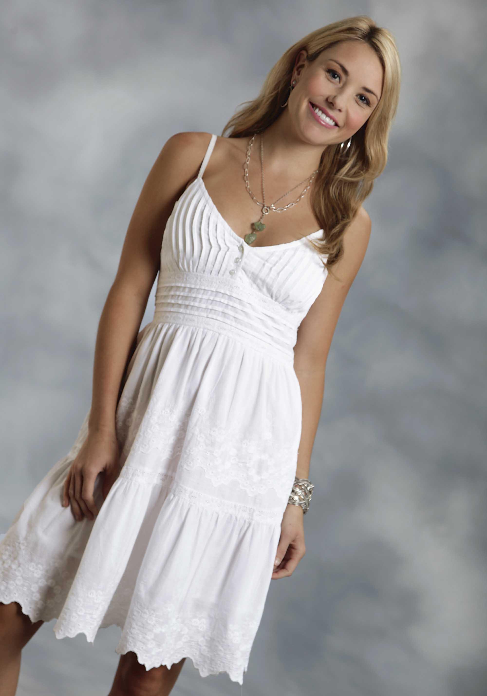 Roper® Women's White Cotton Eyelet Embroidered Western Sundress