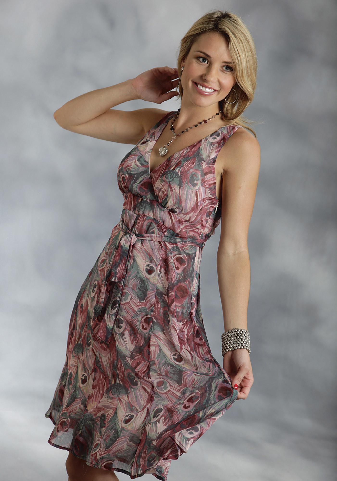 Roper 174 Wine Feather Print Chiffon Sleeveless Western Dress