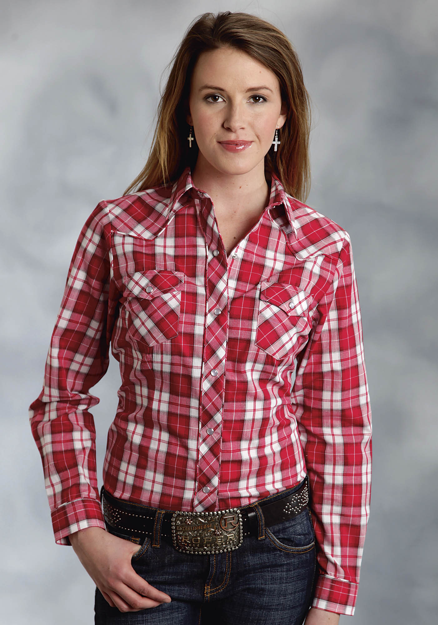 Roper women 39 s big red white plaid embroidered long Womens red tartan plaid shirt