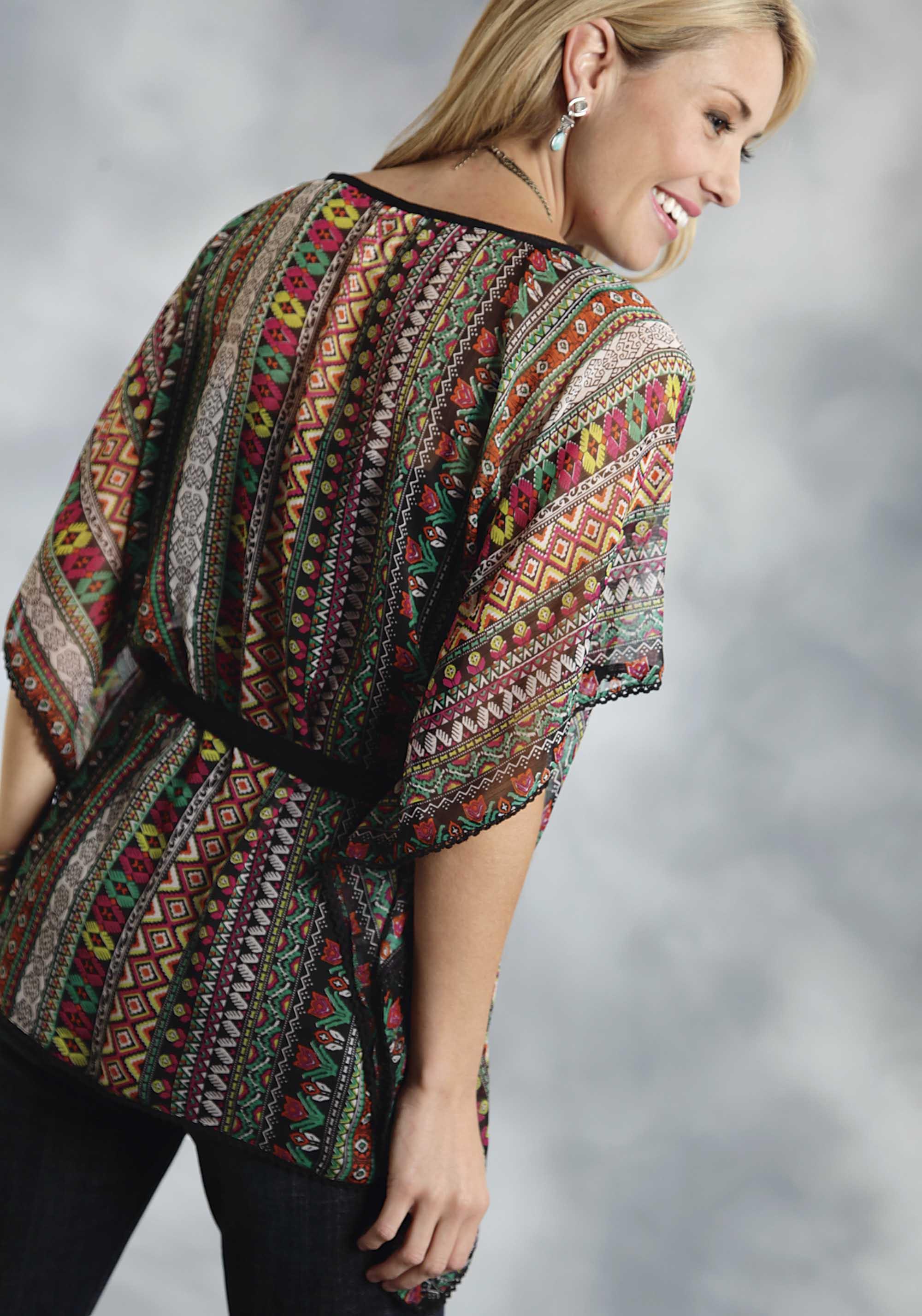Roper 174 Women S Black Aztec Print Chiffon Western Kimono