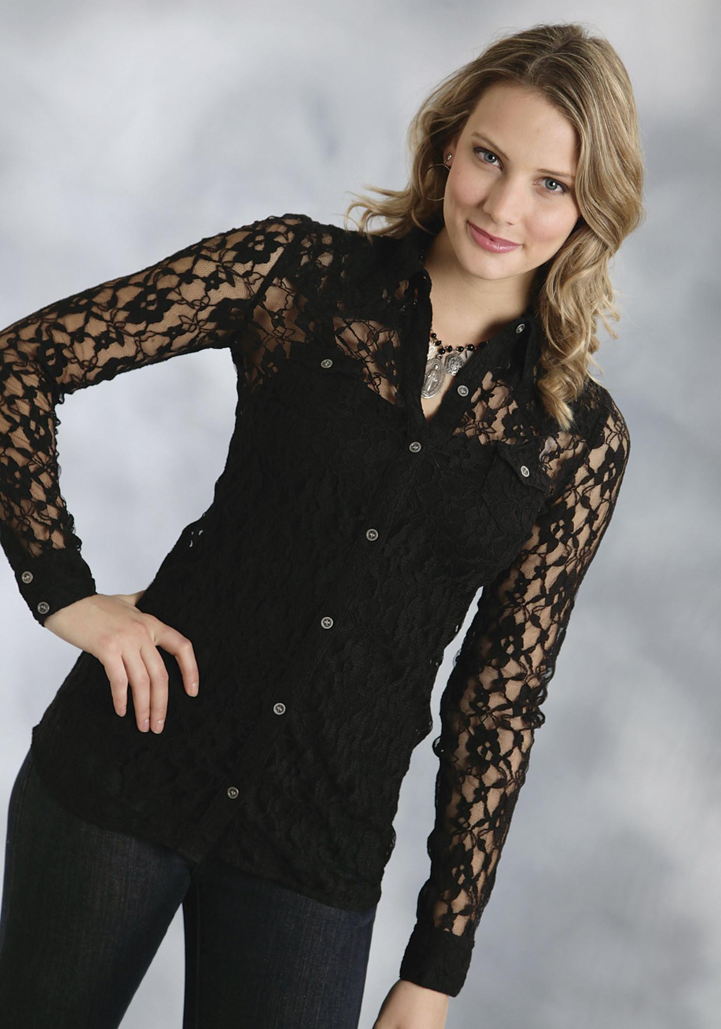 Roper® Women's Black Allover Lace Button Retro Western Shirt