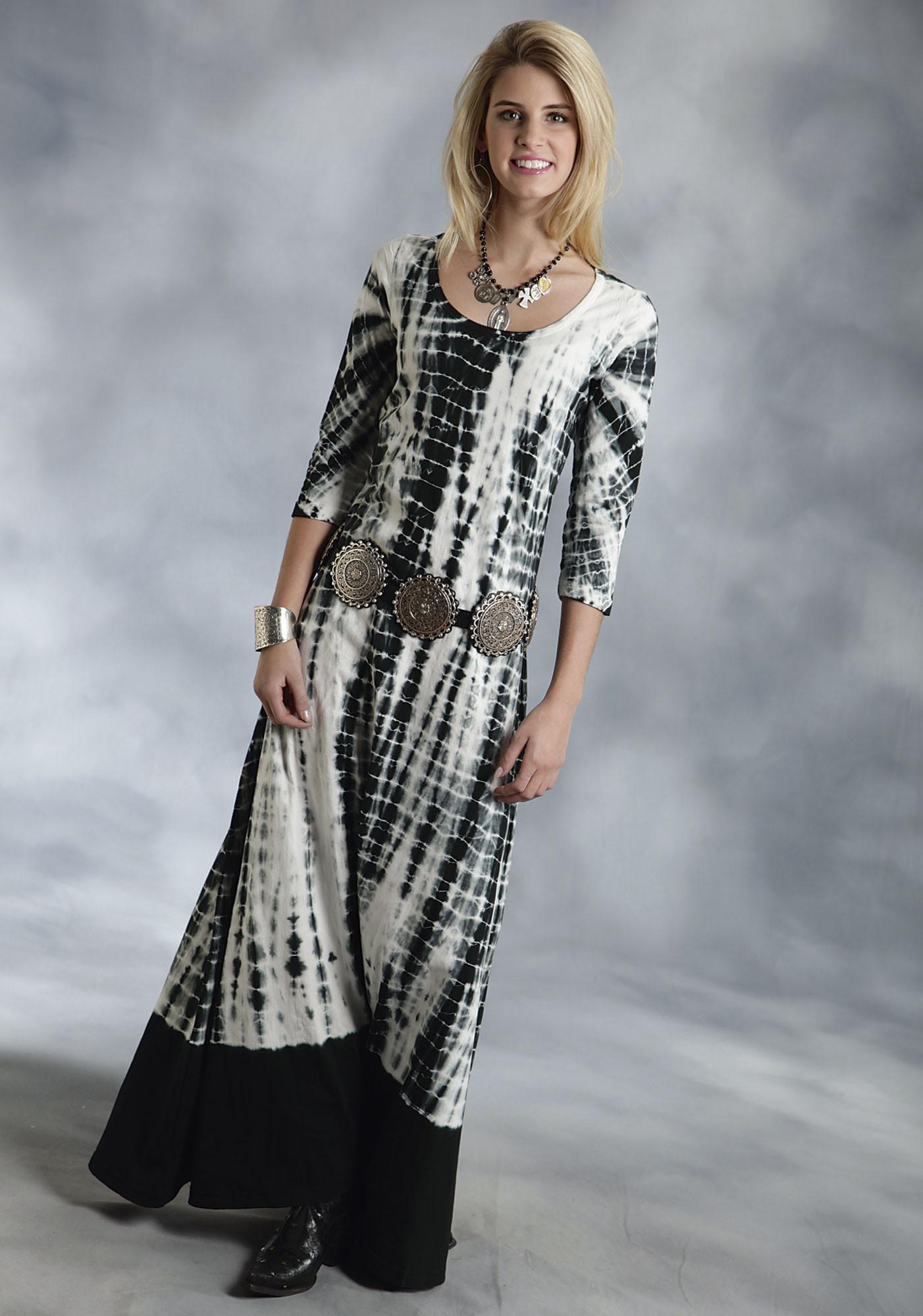 Black and white tie-dye dresses