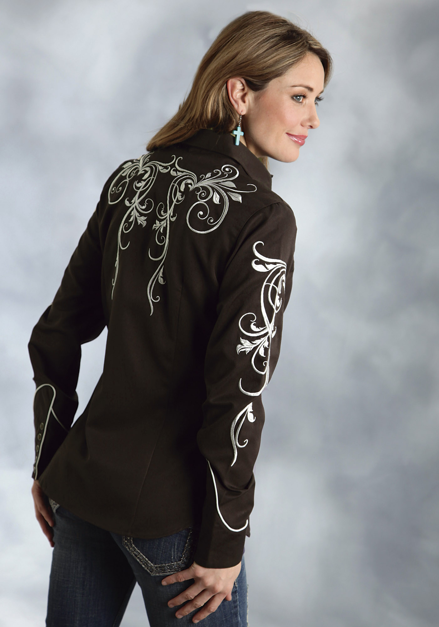 Roper® Womens Brown Embroidered Long Sleeve Snap Old West ...