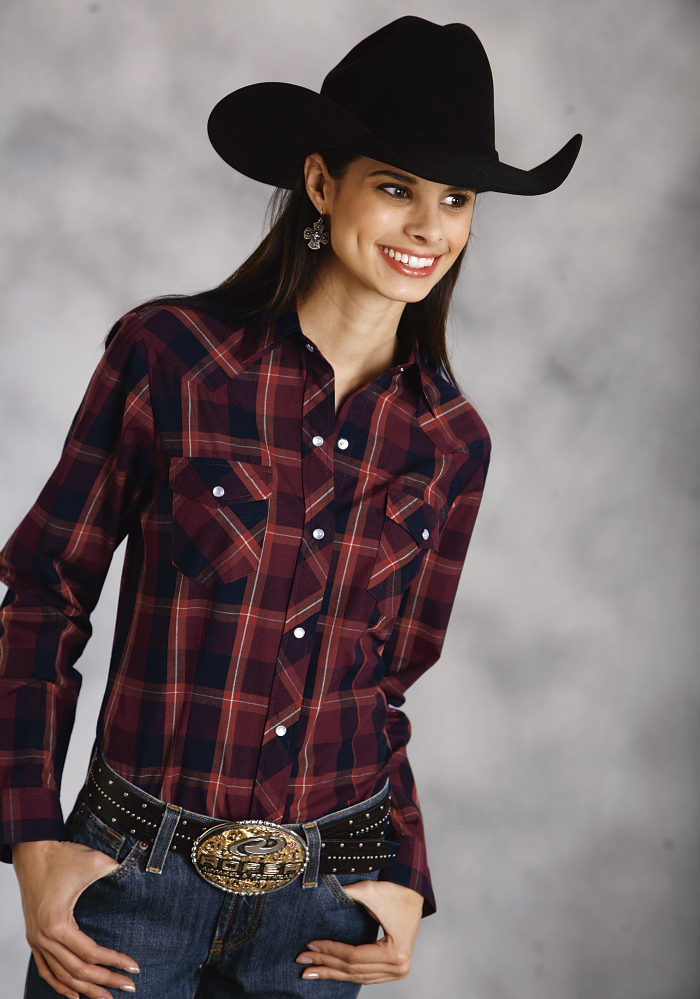 Roper® Women's Maroon Plaid Pearl Snap Poly Cotton LS Western Shirt